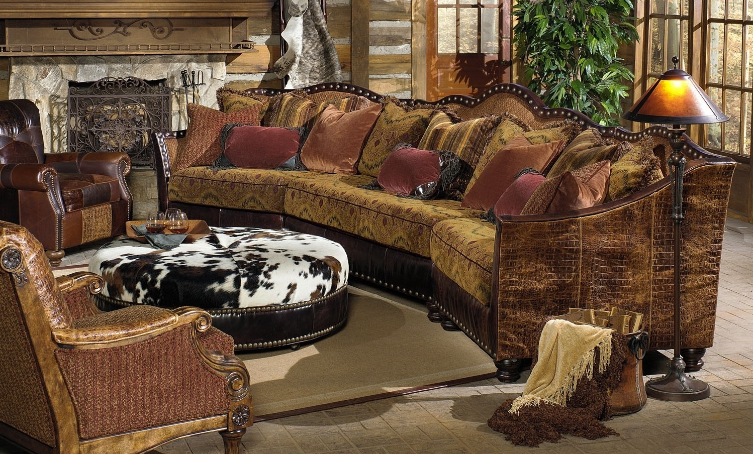 01 Western Furniture. Custom Sectional Sofa, Chairs, Hair Hide Ottoman in Trendy Luxury Sectional Sofas