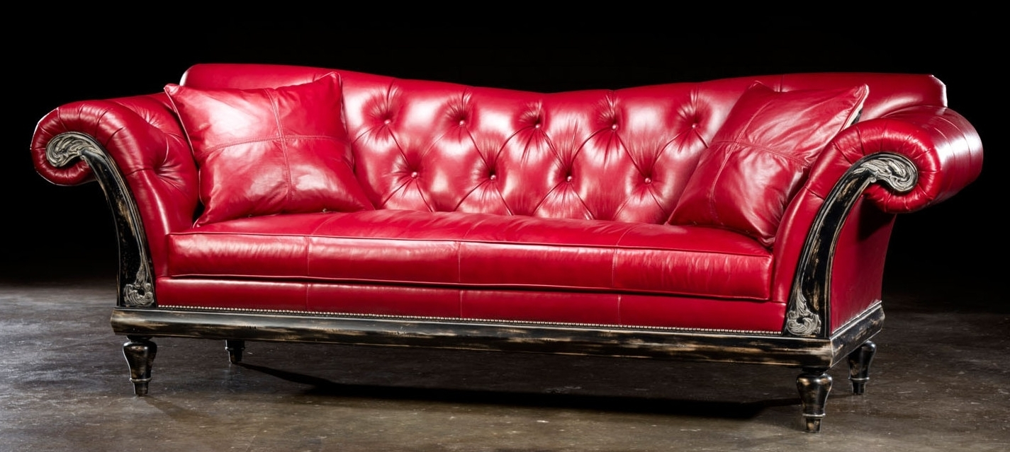 1 Red Hot Leather Sofa, Usa Made, Lost Look From The Past (View 1 of 15)