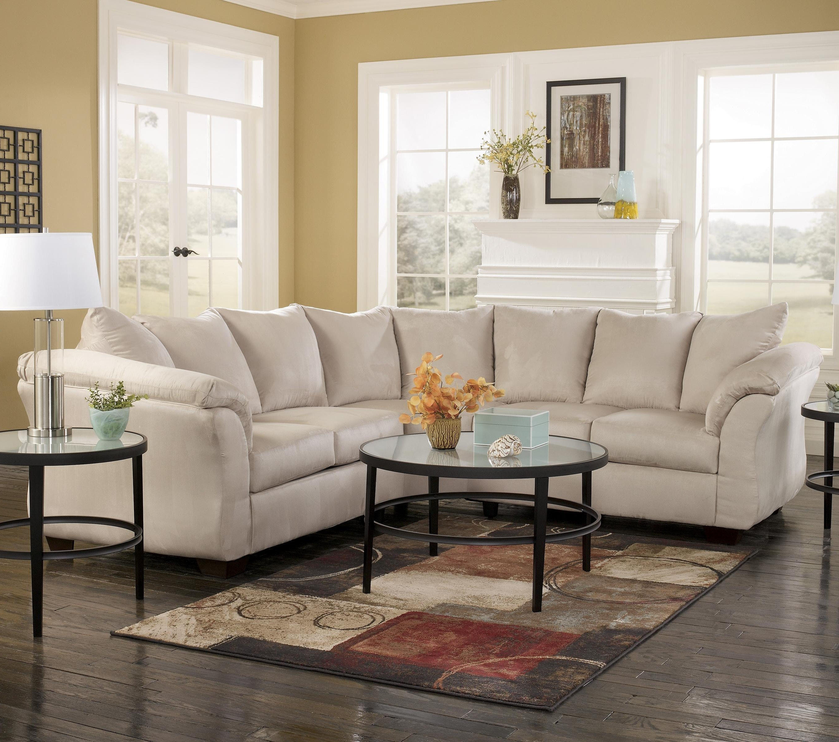 102X102 Sectional Sofas Intended For Favorite Signature Designashley Darcy – Stone Contemporary Sectional (View 10 of 15)