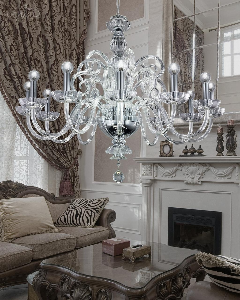 125/ch 12 Chrome Crystal Chandelier With Crystal Swarovski Spectra pertaining to Widely used Crystal And Chrome Chandeliers