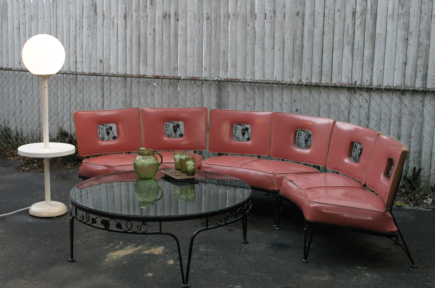 1950's Vintage Woodard Salmon Wrought Iron Grapes & Vine Pattern Pertaining To Well Liked Retro Sofas And Chairs (View 1 of 15)