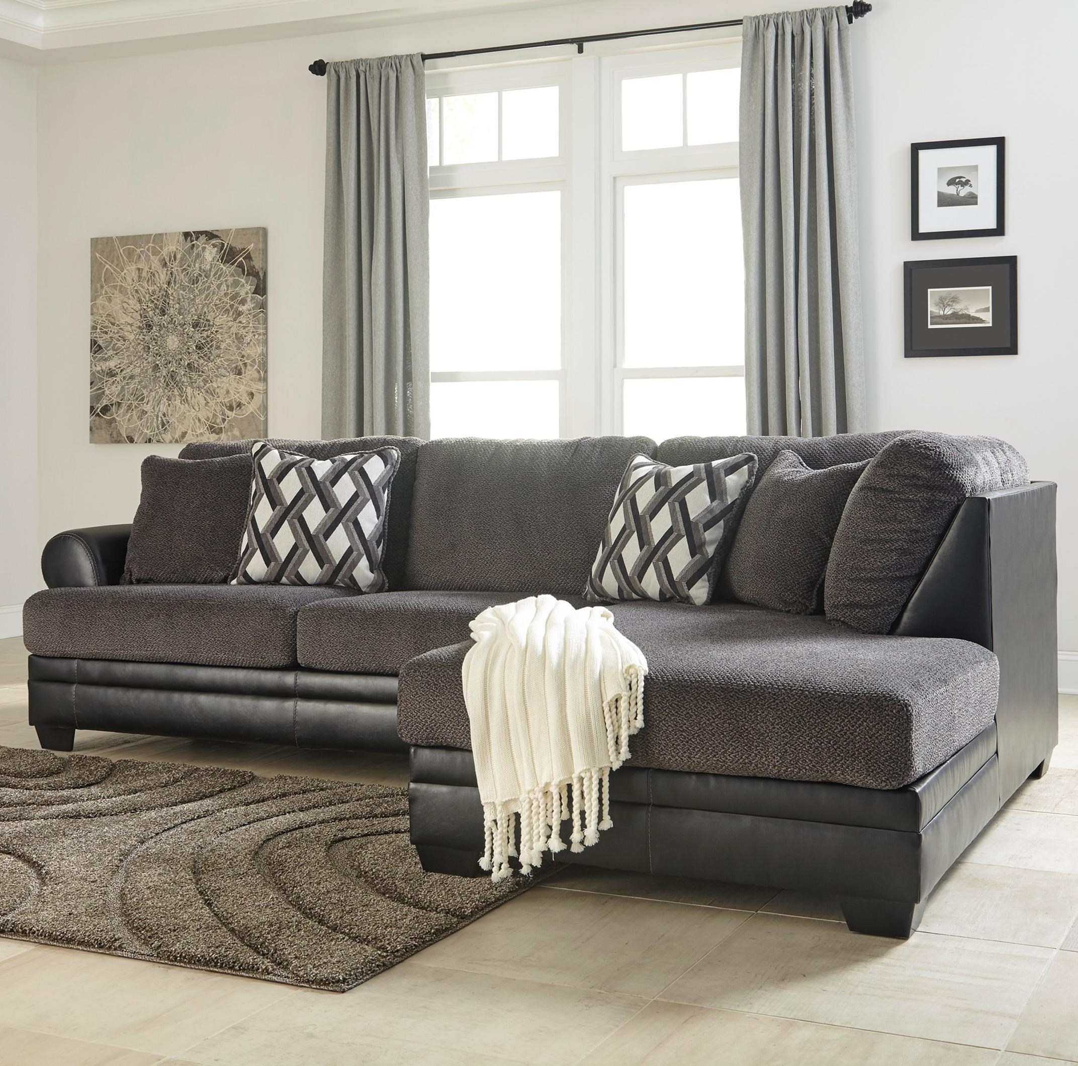 2 Piece Sectionals With Chaise With Regard To Latest Benchcraft Kumasi 2 Piece Fabric/faux Leather Sectional With Left (View 3 of 15)