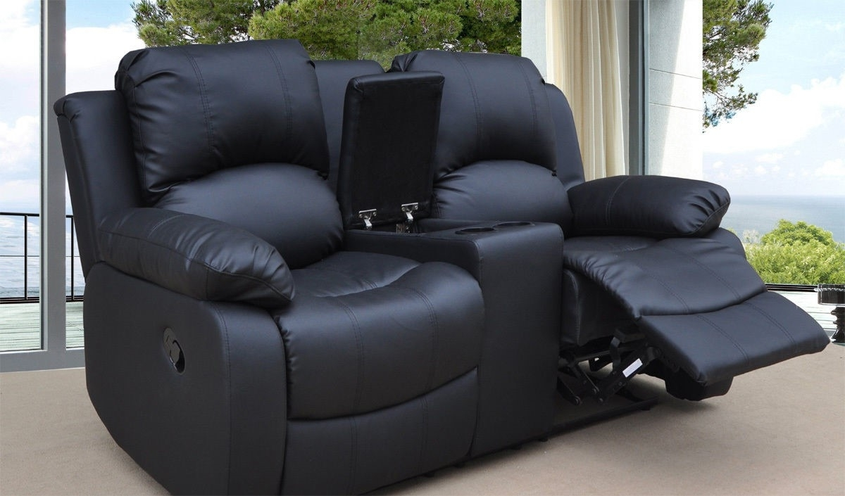 2 Seater Recliner Leather Sofas Throughout Popular Funiture: Modern Reclining Sofa Ideas For Living Room Using Black (View 3 of 15)