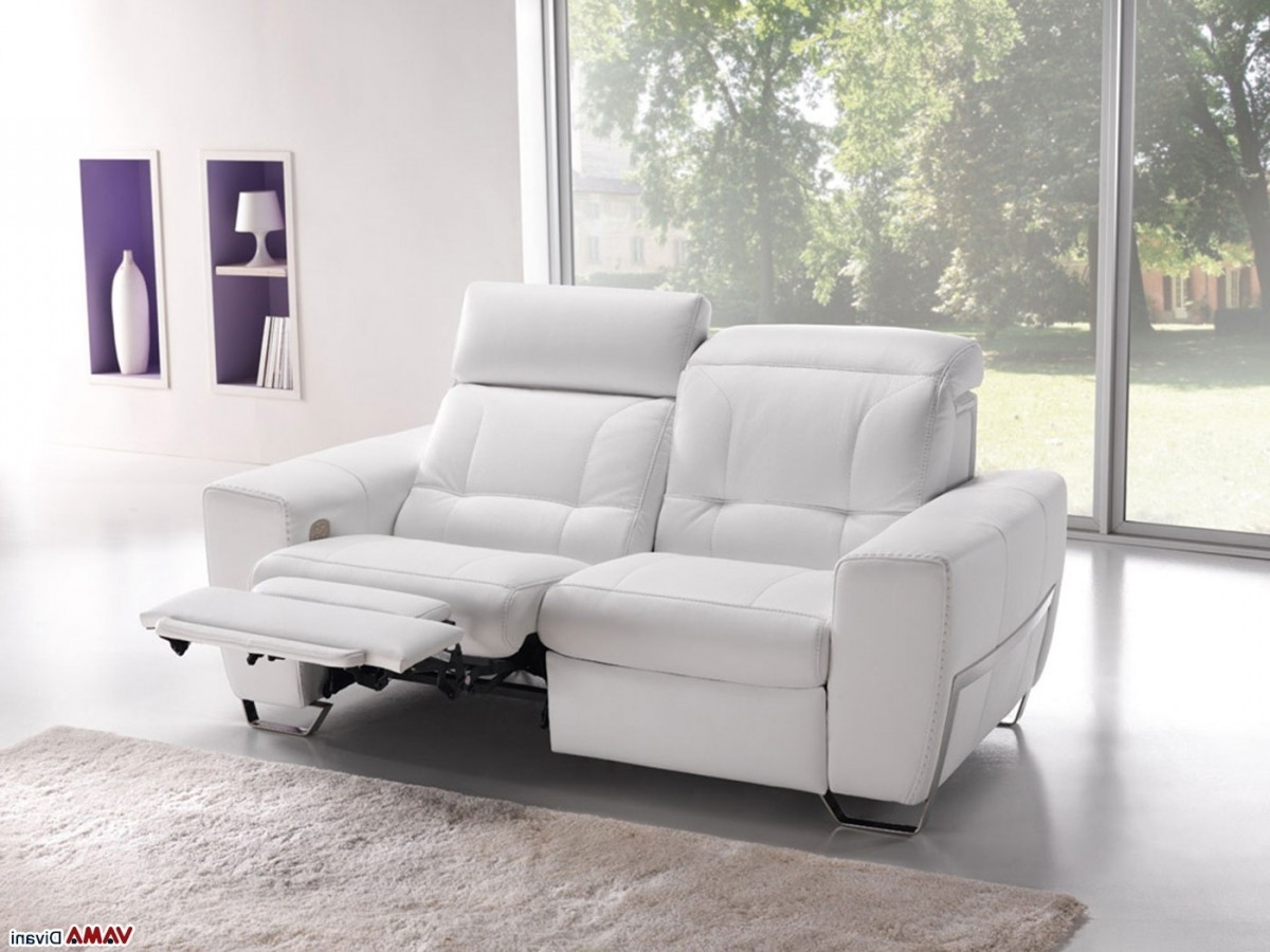 2 Seater Recliner Leather Sofas With Regard To Most Up To Date Best White Leather Reclining Sofa , Elegant White Leather (View 4 of 15)