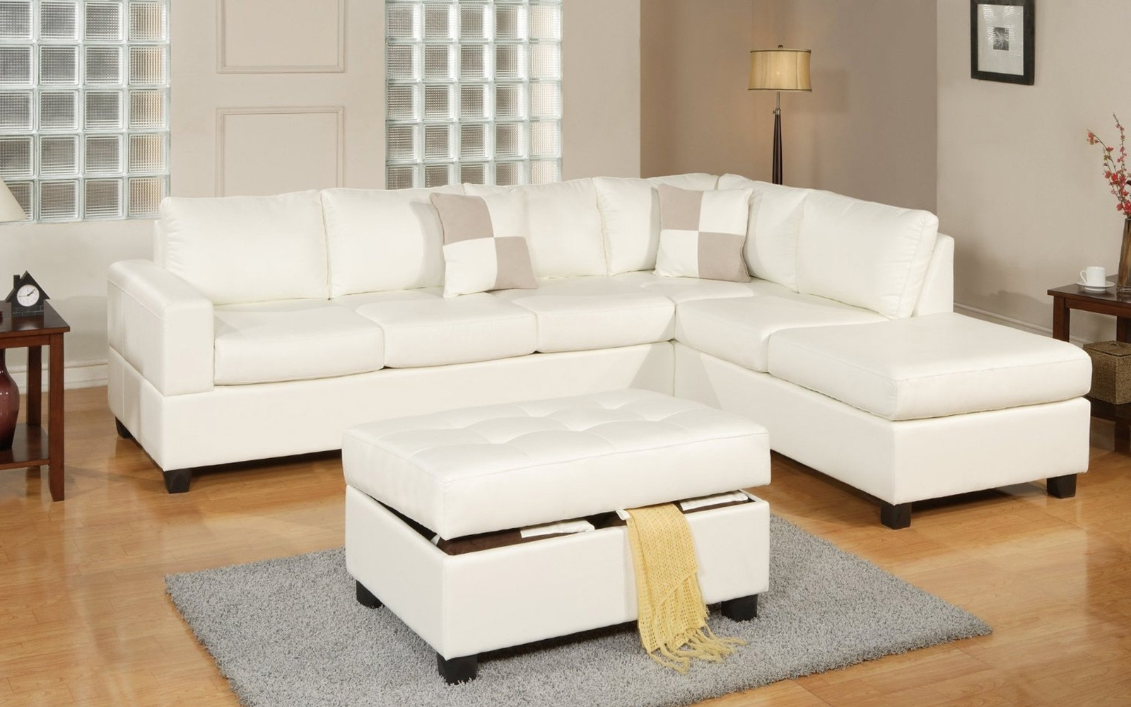 2017 3 Piece Modern Reversible Tufted Bonded Leather Sectional Sofa With Cream Chaise Sofas (View 14 of 15)