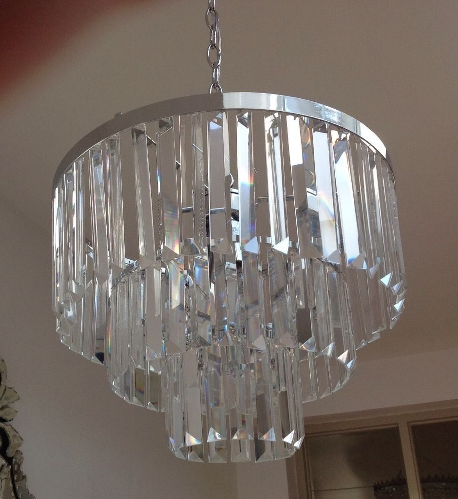 2017 3 Tier Crystal Chandelier Intended For Laura Ashley Oxshott 3 Tier Crystal Chandelier Only Bought 3 Weeks (View 6 of 15)