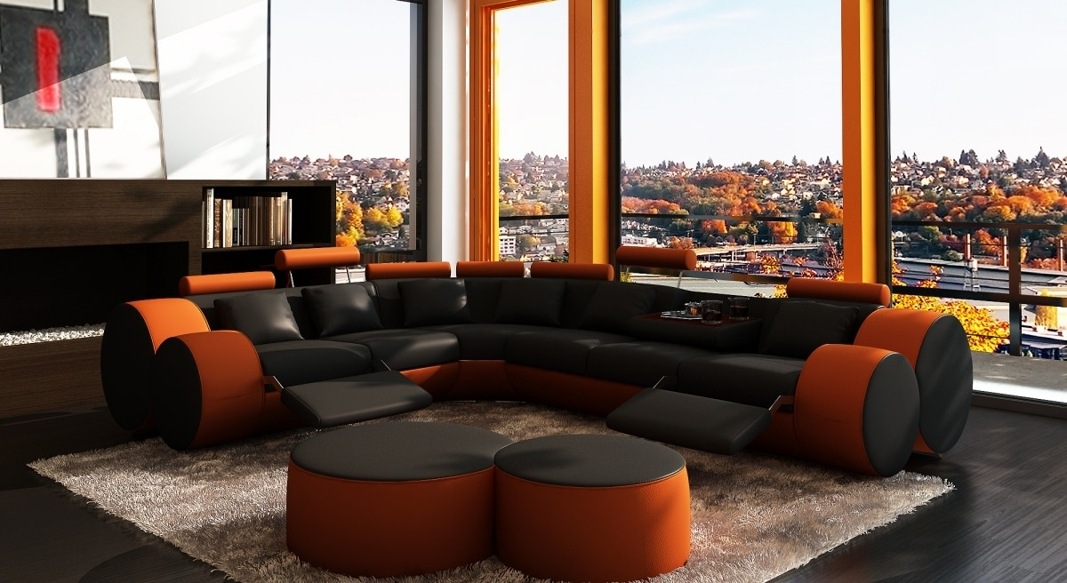 2017 3087 Modern Black And Orange Leather Sectional Sofa And Coffee Table With Orange Sectional Sofas (View 1 of 15)