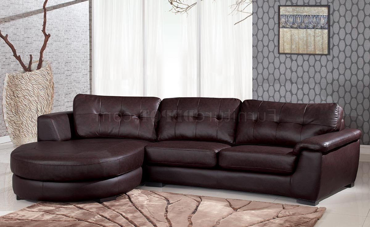 2017 3612 Sectional Sofa In Brown Leatherglobal With Vt Sectional Sofas (View 6 of 15)