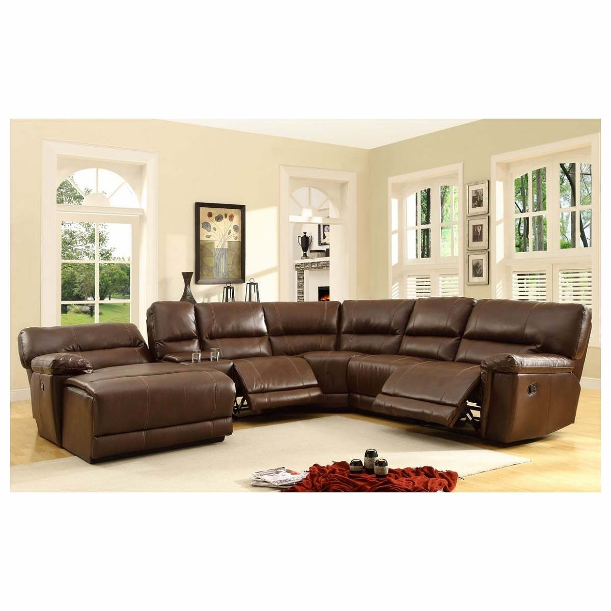 2017 6 Pc Blythe Collection Brown Bonded Leather Match Upholstered with regard to 6 Piece Leather Sectional Sofas
