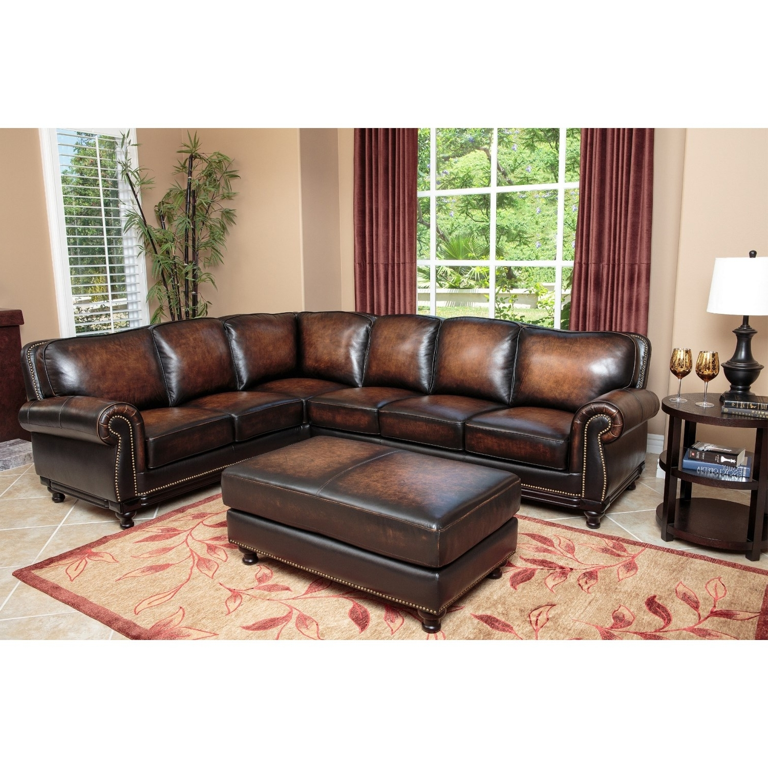 2017 Abbyson Sectional Sofas Throughout Abbyson Living Sk 5304 Brn Set Nizza Woodtrim Hand Rubbed Leather (View 1 of 15)