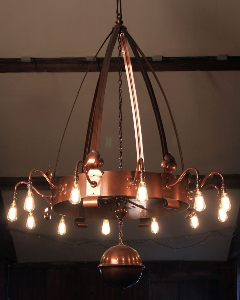 2017 Arts And Crafts 12 Branch Copper Chandelier, Vinate Retro Lighting Throughout Copper Chandelier (View 7 of 15)