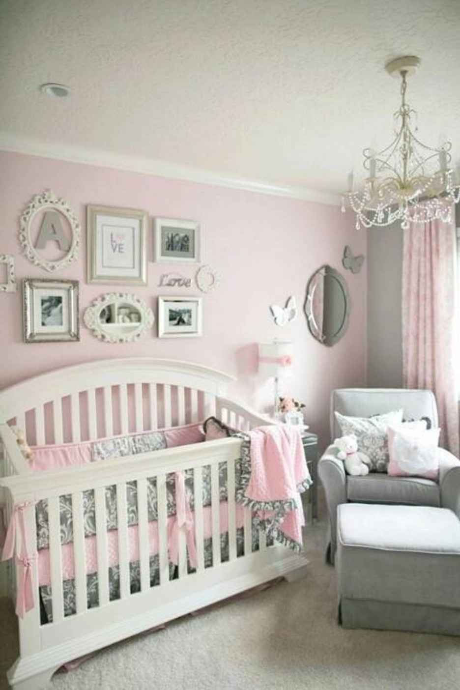 2017 Baby Nursery Charming Baby Nursery Room Decoration Using White Crib In Chandeliers For Baby Girl Room (View 1 of 15)