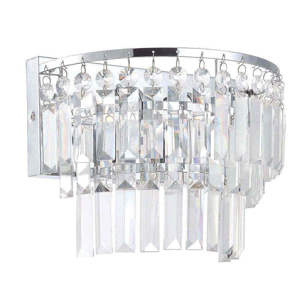2017 Bathroom Chandelier Wall Lights Pertaining To Bathroom Wall Light Vasca 2 Light Crystal Bar Chrome From Litecraft (View 1 of 15)