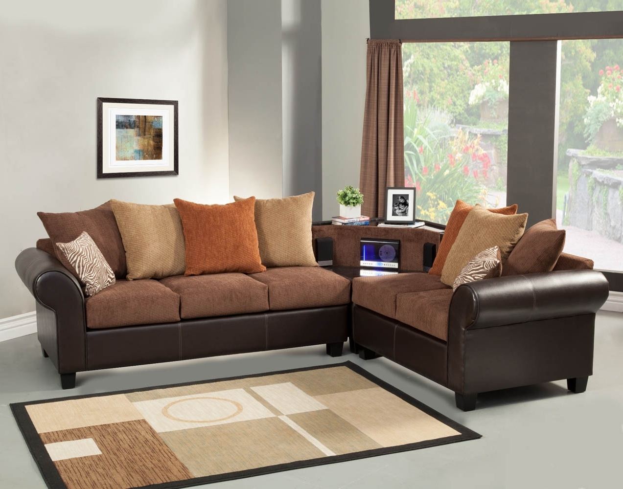 2017 Brown Sectional Sofa Set With Aux, Cd, And Am/fm Stereo With Regard To Orange Sectional Sofas (View 2 of 15)