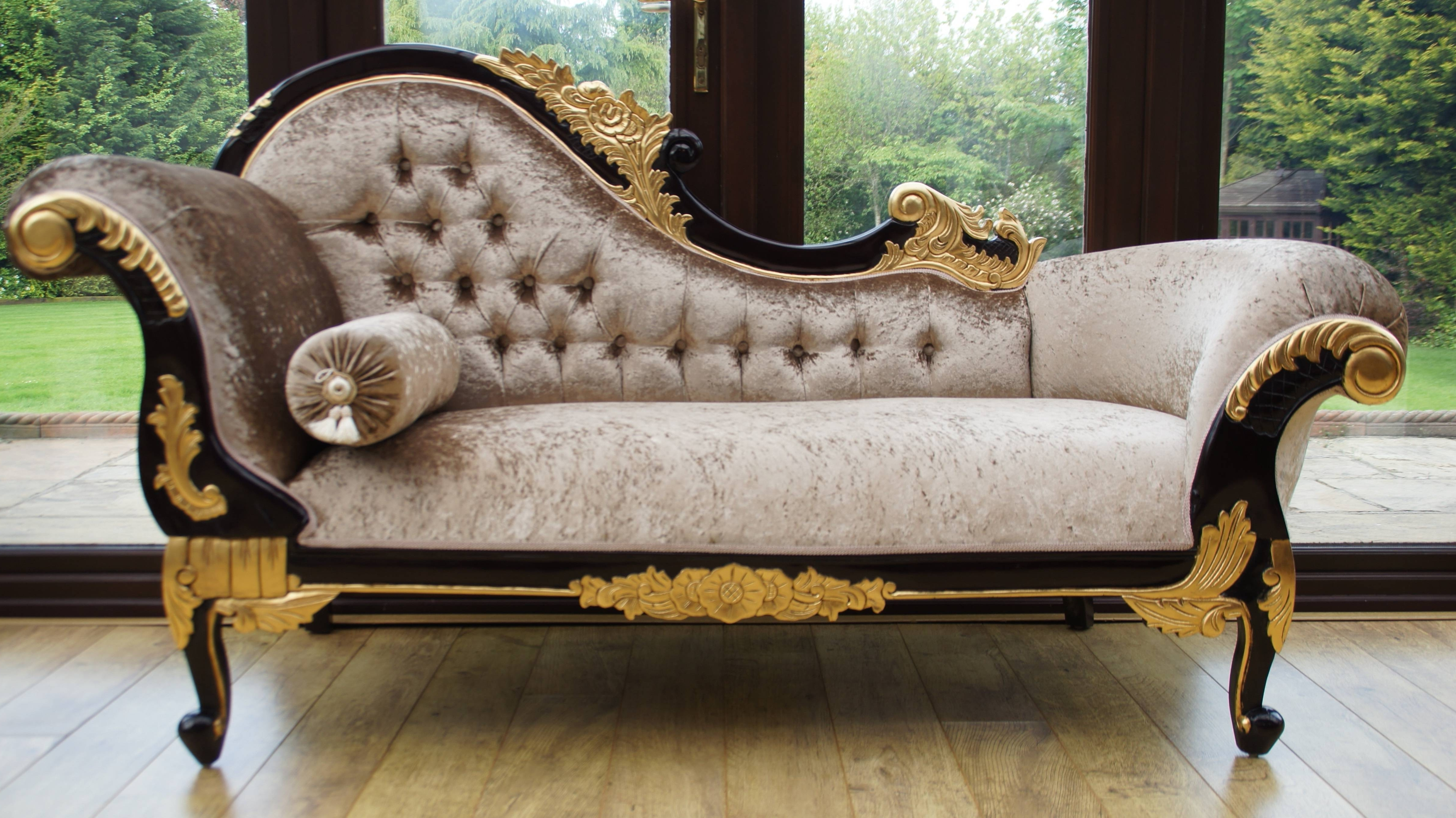 2017 Chaise Chair Beautiful Antique Furniture Black And Gold Velvet Of Throughout Gold Chaise Lounges (View 13 of 15)
