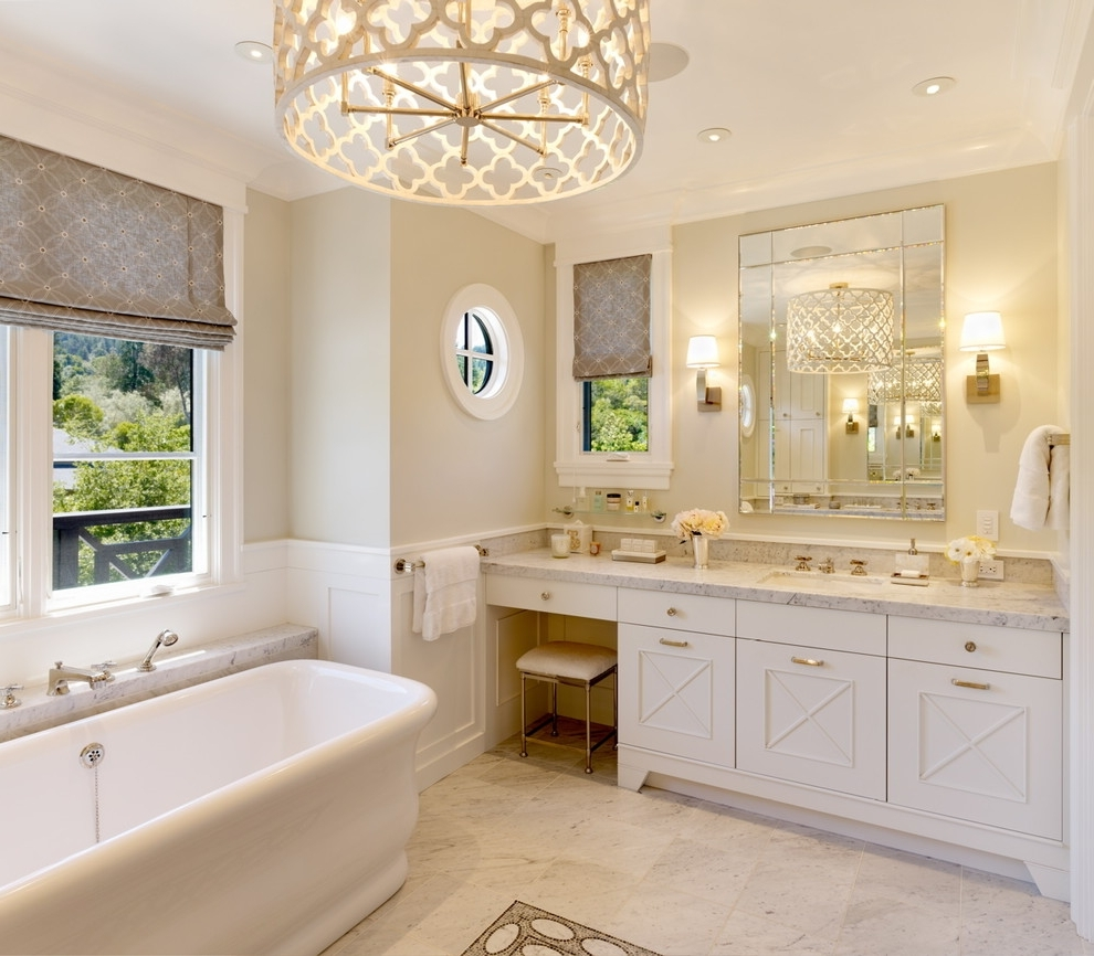 2017 Chandelier Bathroom Lighting Fixtures With Lovely Chandelier Bathroom Lighting 25 Ways To Decorate With (View 1 of 15)