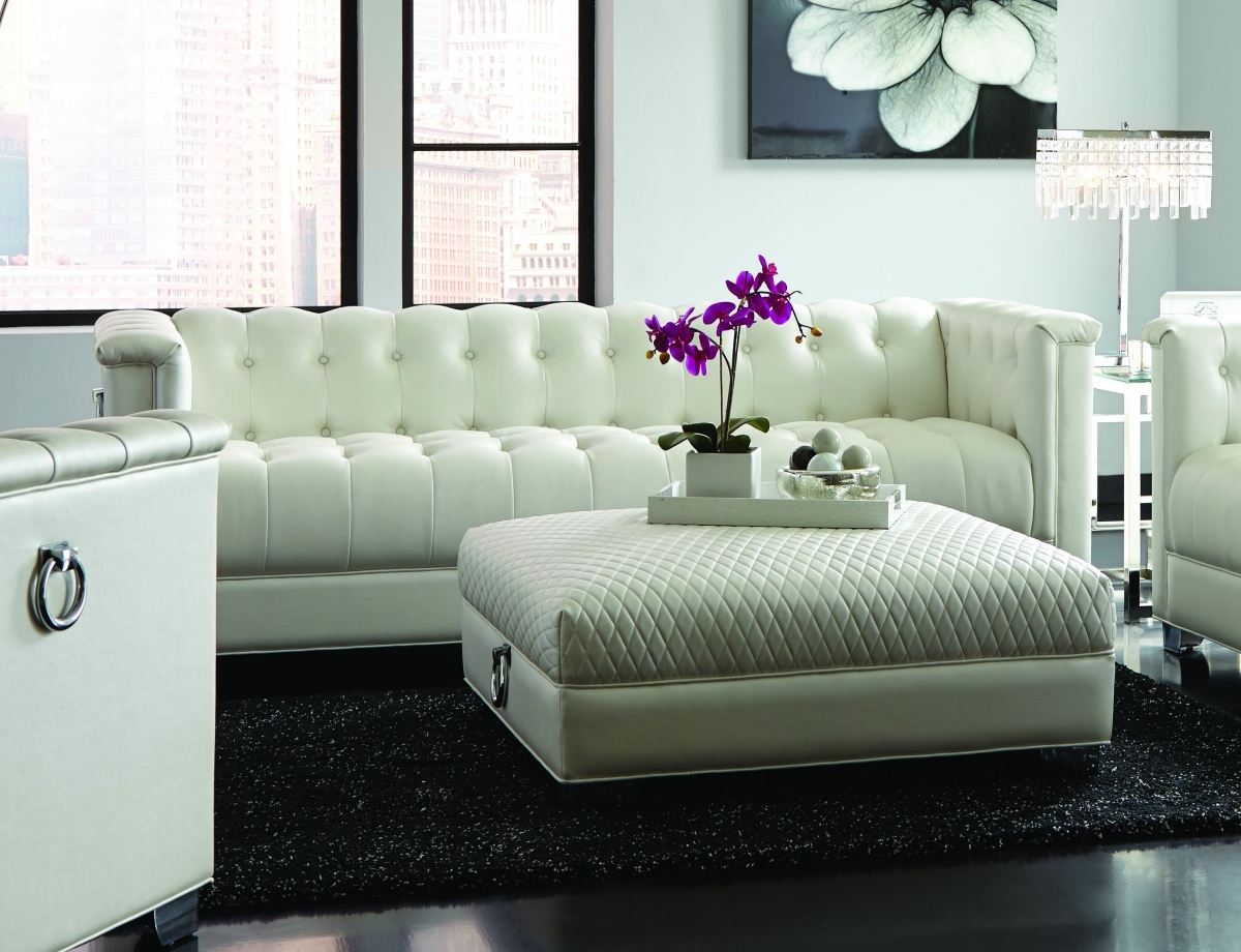 2017 Chaviano White Leather Sofa – Steal A Sofa Furniture Outlet Los For White Leather Sofas (View 2 of 15)
