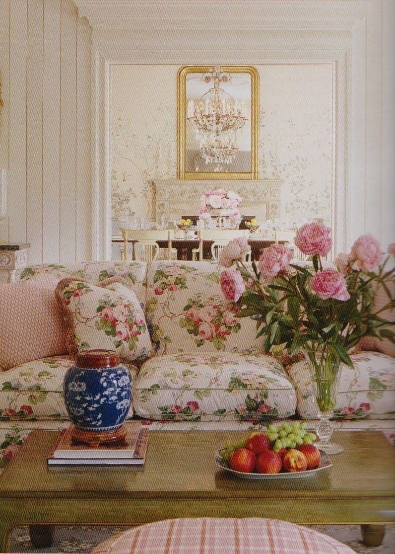 2017 Chintz Floral Sofas Inside 3 The Floral Couch The Wooden Coffee Table And Checkered (View 1 of 15)