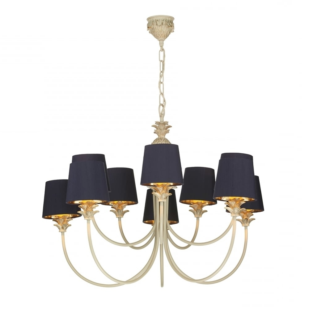2017 Cream Gold Chandelier Within Colonial Pineapple Design Chandelier In Cream Gold With Navy Shades (View 12 of 15)