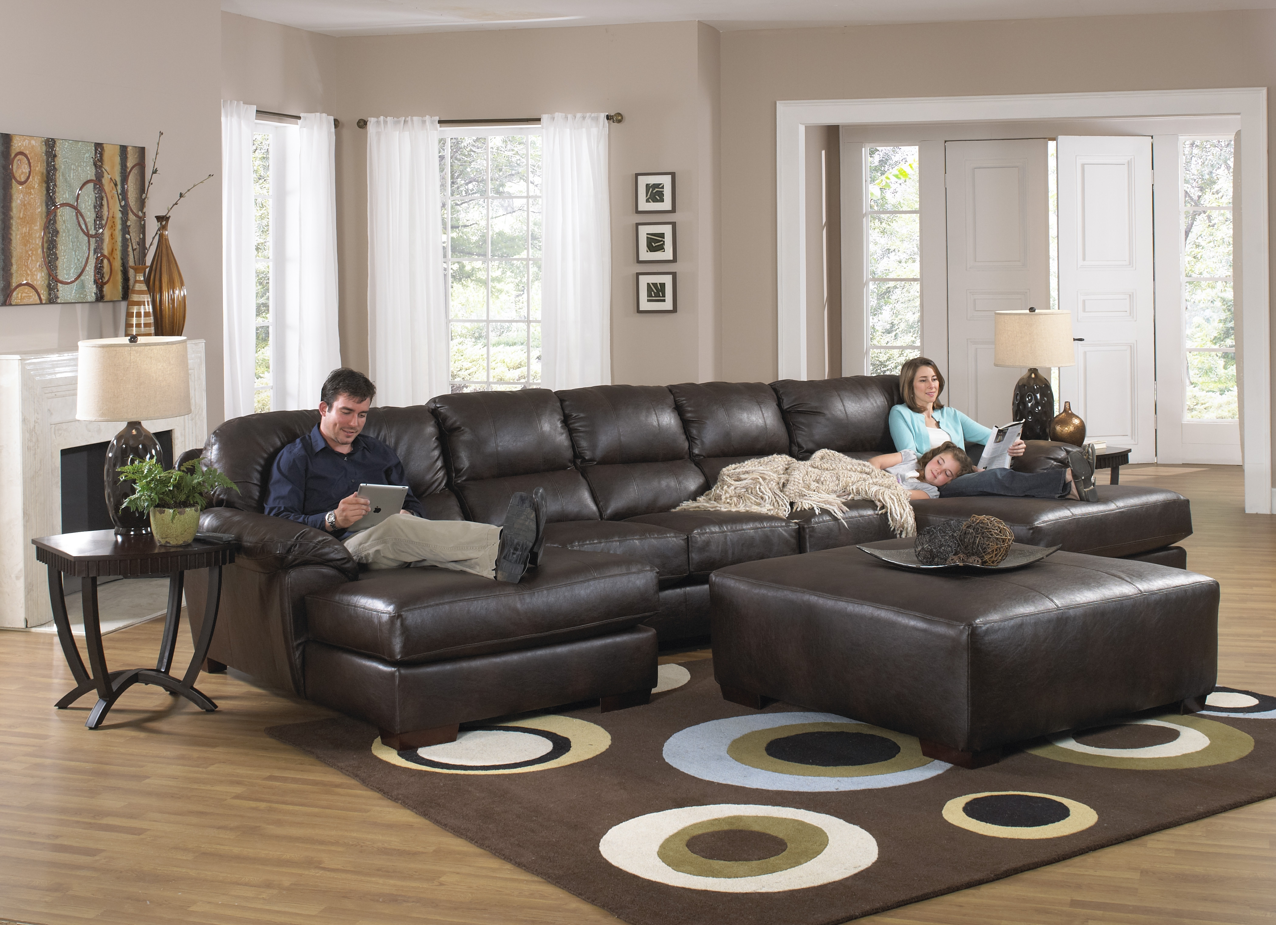 2017 Double Chaise Lounge Sofas Within Dark Brown Leather U Shaped Sofa With Double Chaise Lounge And (View 14 of 15)