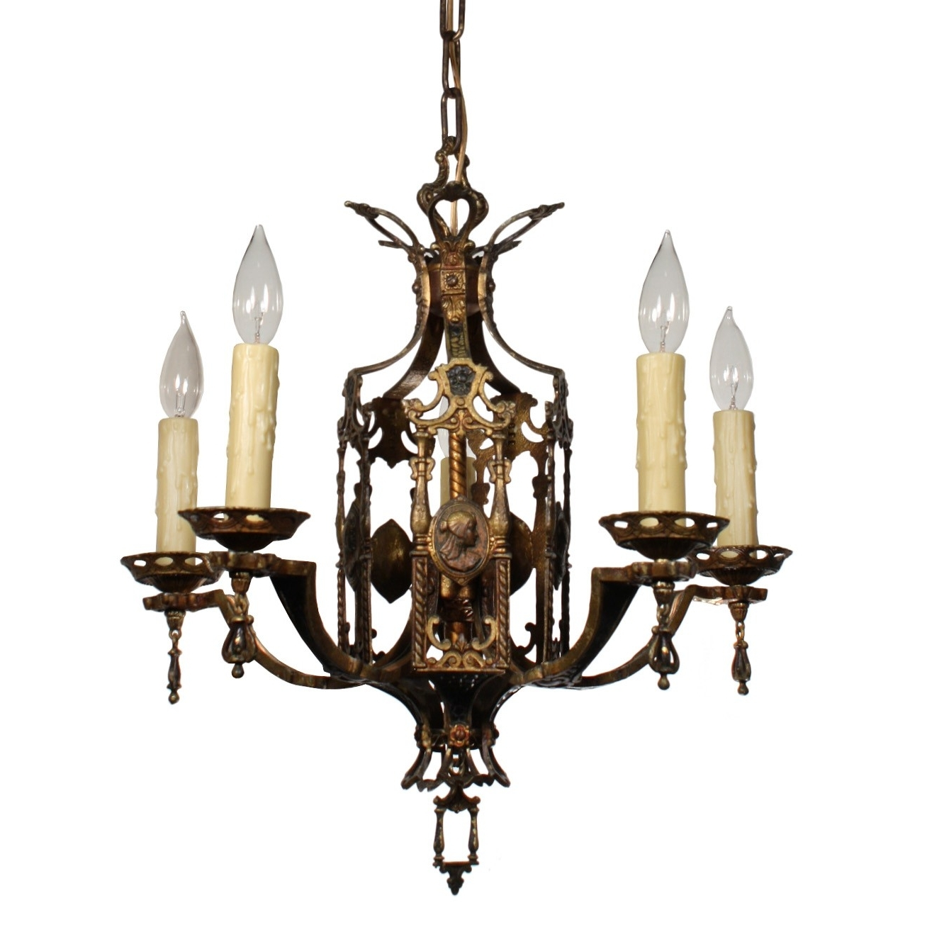 2017 Egyptian Chandelier In Stunning Antique Egyptian Revival Figural Chandelier With Cameos, C (View 1 of 15)