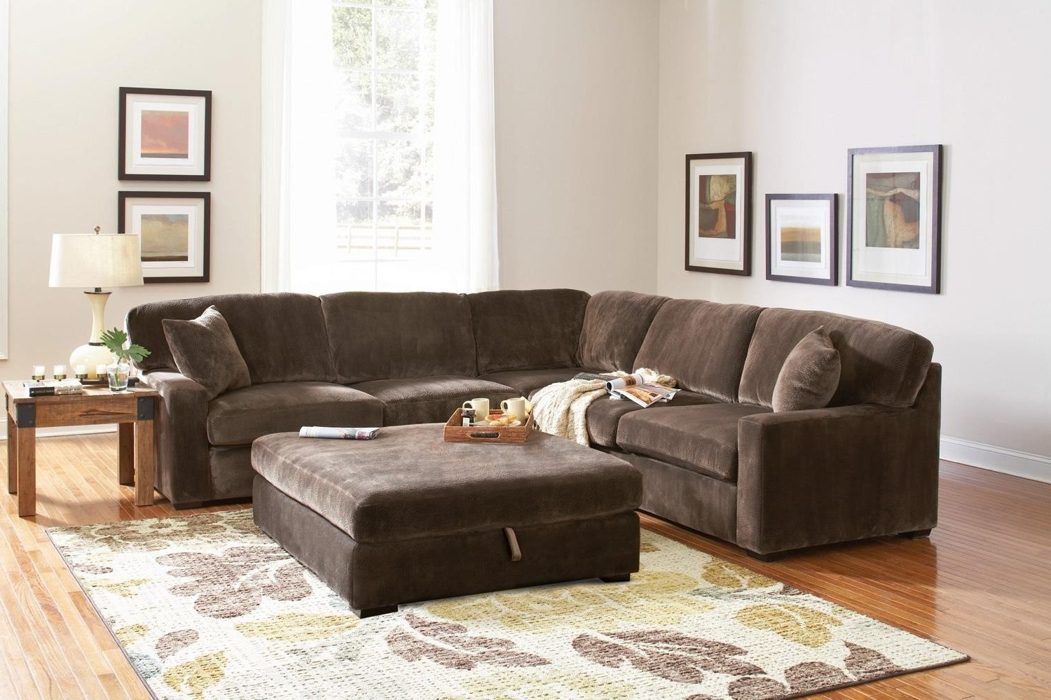 2017 Erickon Coffee Bean Velvet Sectional Sofa – Living Room Throughout Velvet Sectional Sofas (View 8 of 15)
