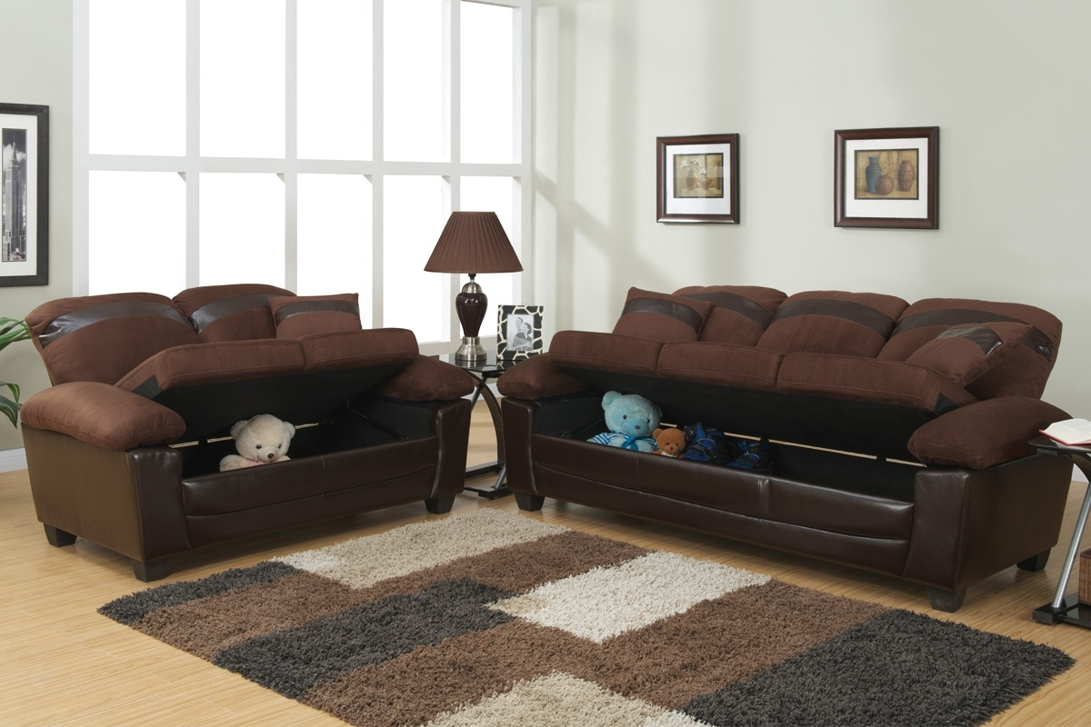 2017 Gabe Brown Leather Sofa And Loveseat Set With Storage – Steal A Inside Leather Sofas With Storage (View 10 of 15)