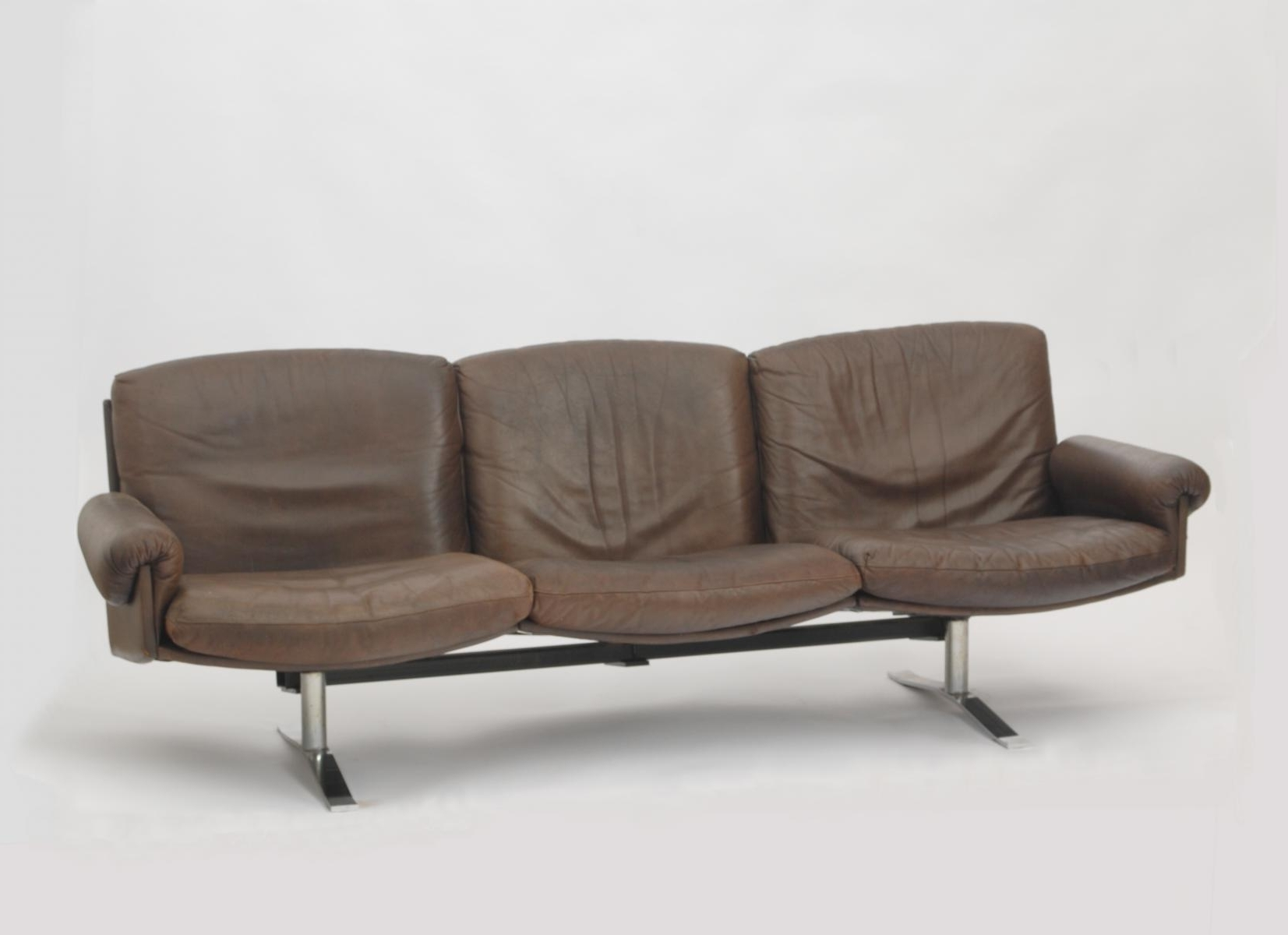 2017 Mid Century German 3 Seater Leather Sofa For Sale At Pamono With 3 Seater Leather Sofas (View 4 of 15)
