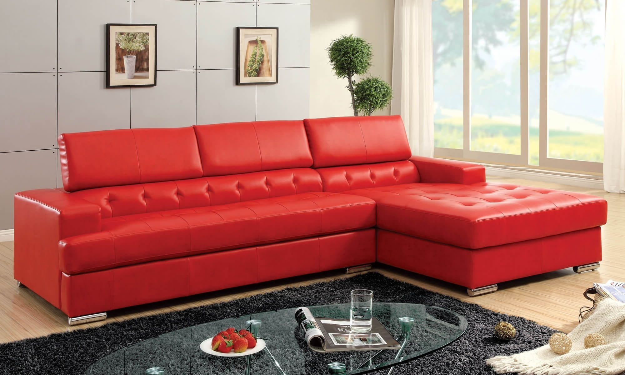 2017 Modern Red Leather Sectional Sofa • Leather Sofa Regarding Red Sectional Sofas With Ottoman (View 1 of 15)