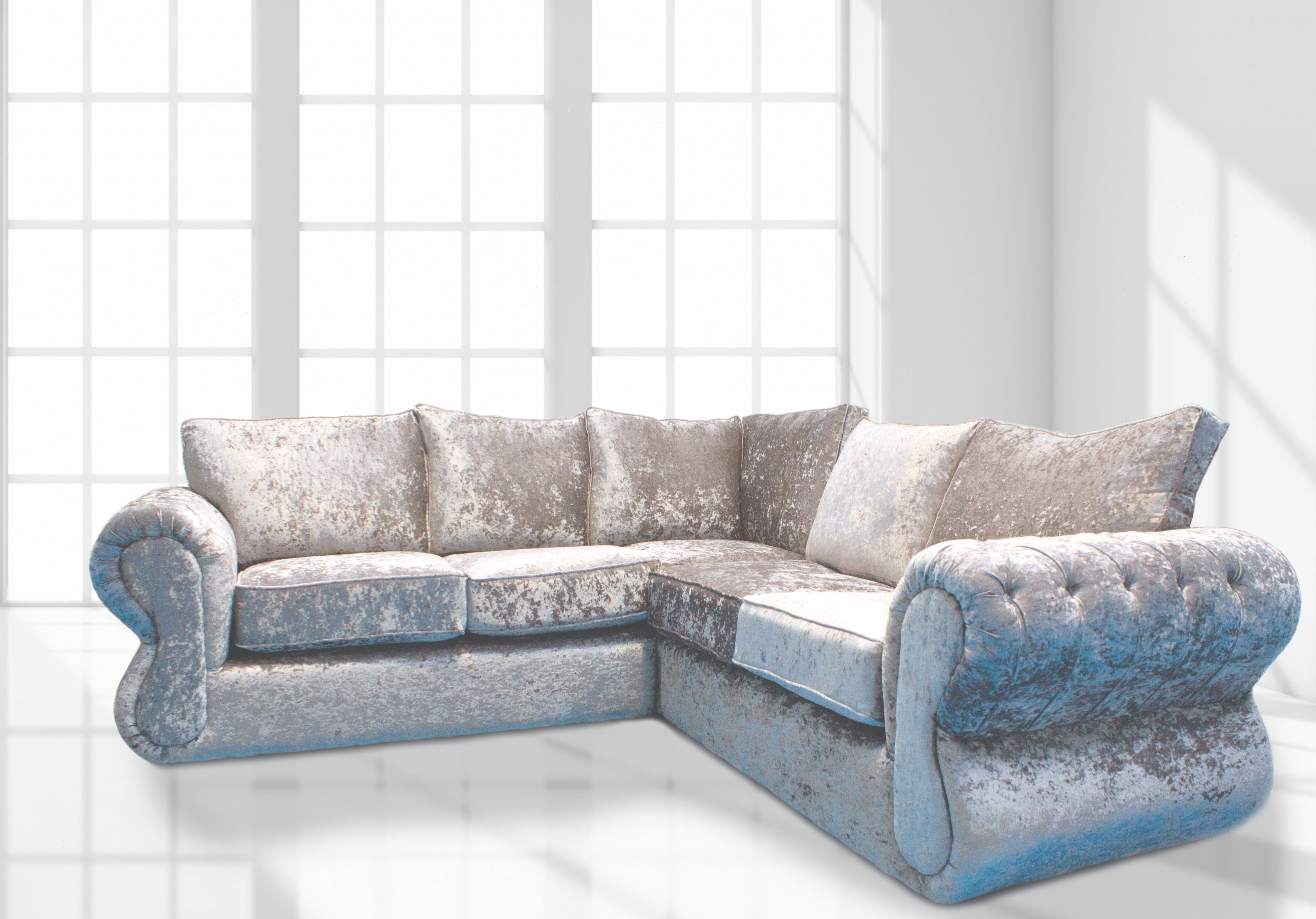 2017 Modern Velvet Corner Couch With Curved Chaise Combined With Regard To Velvet Chaise Settees (View 1 of 15)