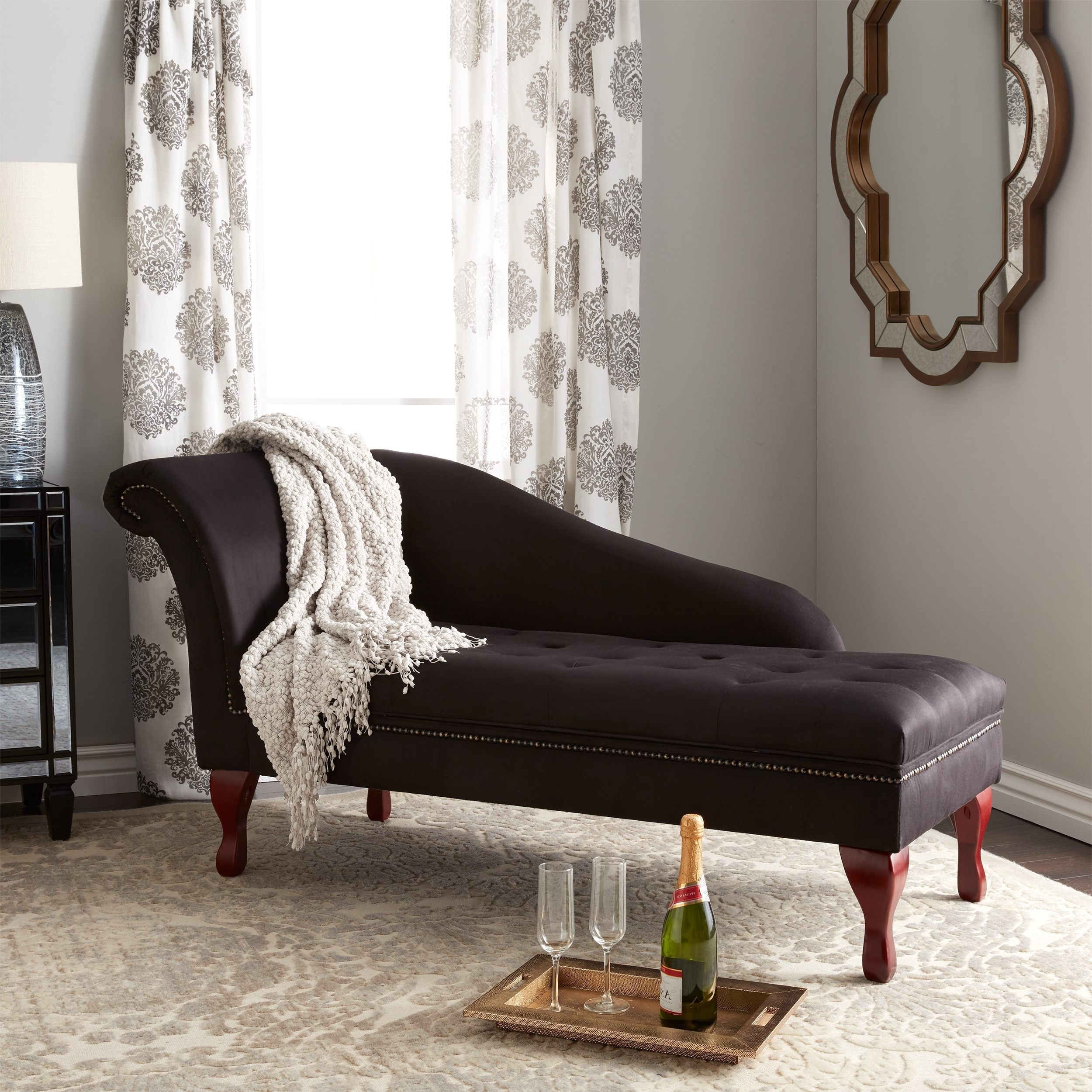 2017 Overstock Chaise Lounges Regarding Simple Living Black Storage Chaise Lounge – Free Shipping Today (View 2 of 15)