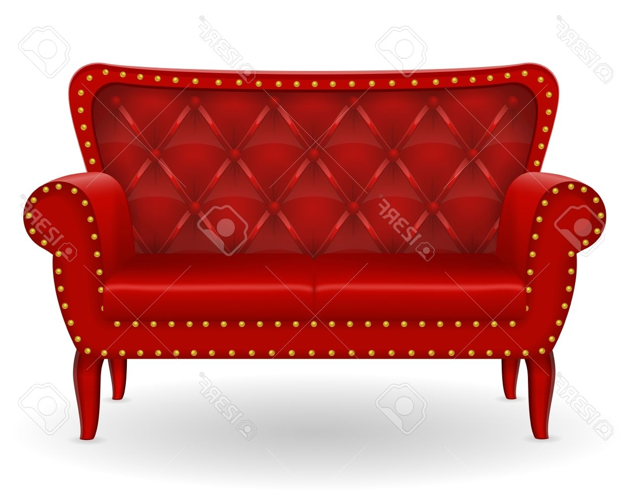 2017 Red Sofa Furniture Vector Illustration Isolated On White Pertaining To Red Sofa Chairs (View 14 of 15)