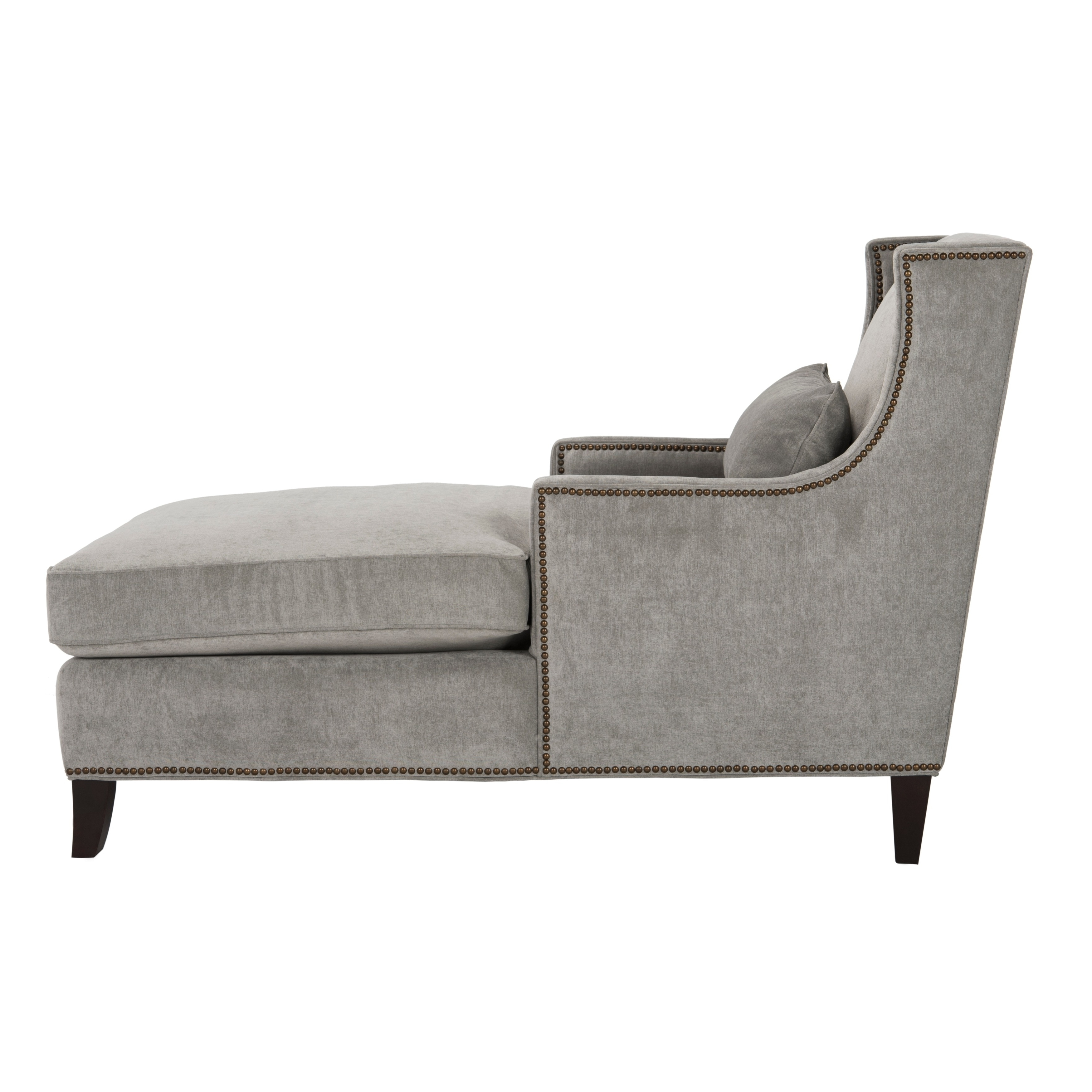 2017 Safavieh Couture High Line Collection Vitali Grey Velvet Chaise Regarding High End Chaise Lounge Chairs (View 3 of 15)