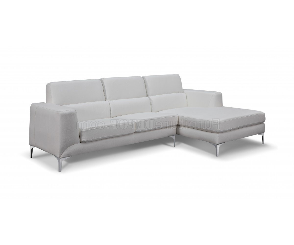 2017 Sectional Sofa In White Faux Leatherwhiteline Inside Sydney Sectional Sofas (View 8 of 15)