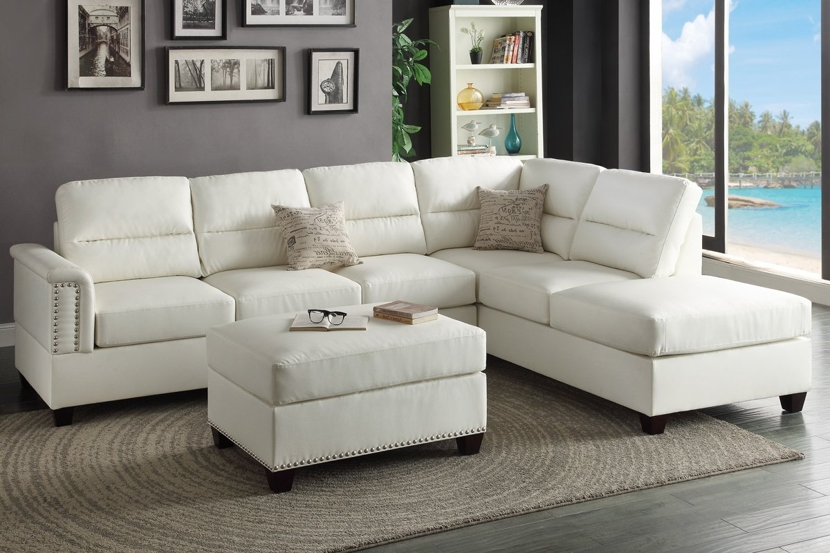 2017 Sectional Sofas At Amazon Regarding Living Room: Amazon Com T35 White Bonded Leather Sectional Sofa (View 14 of 15)