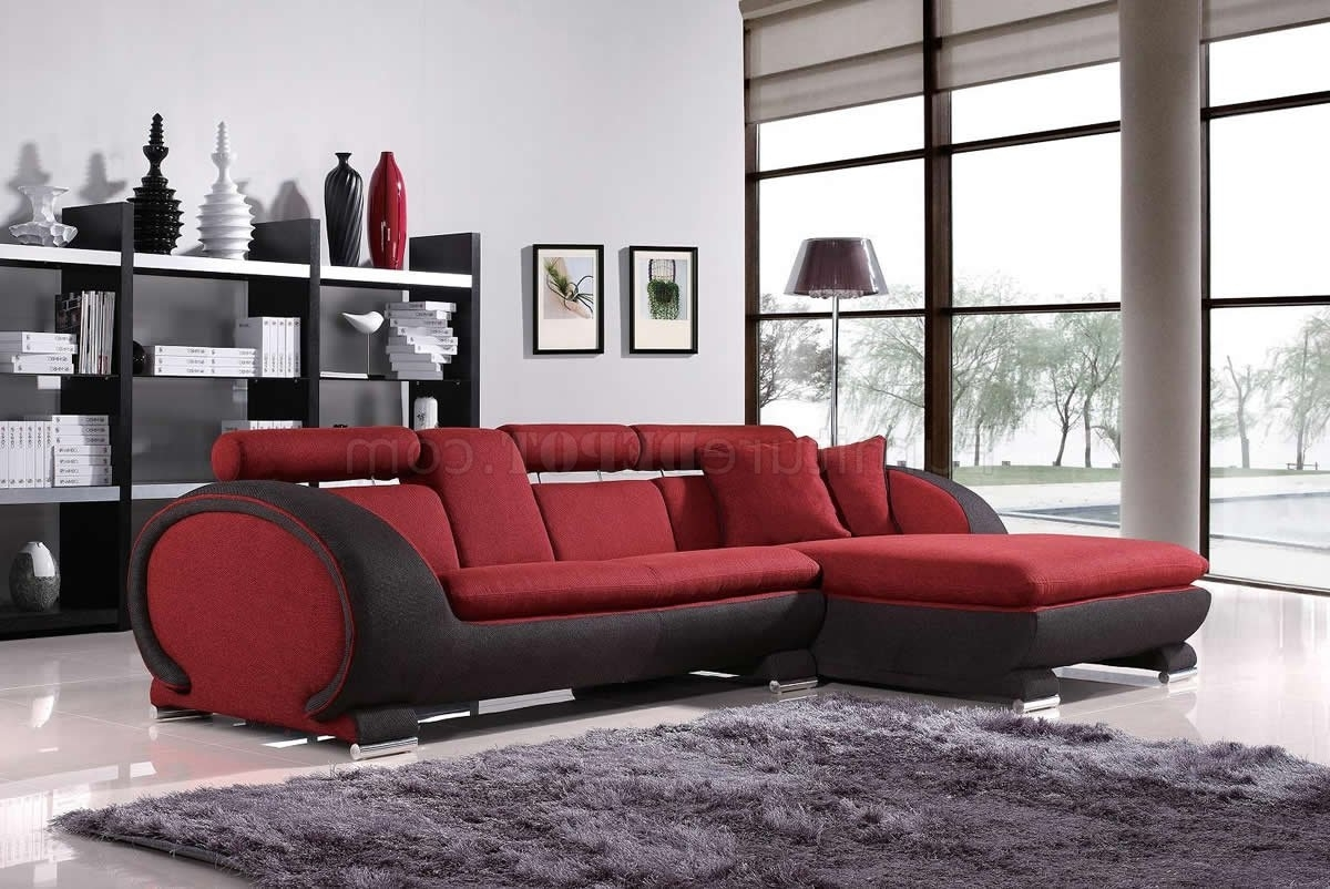2017 Sectional Sofas With Cup Holders Intended For Red Fabric Two Tone Modern Sectional Sofa W/cup Holders (View 5 of 15)
