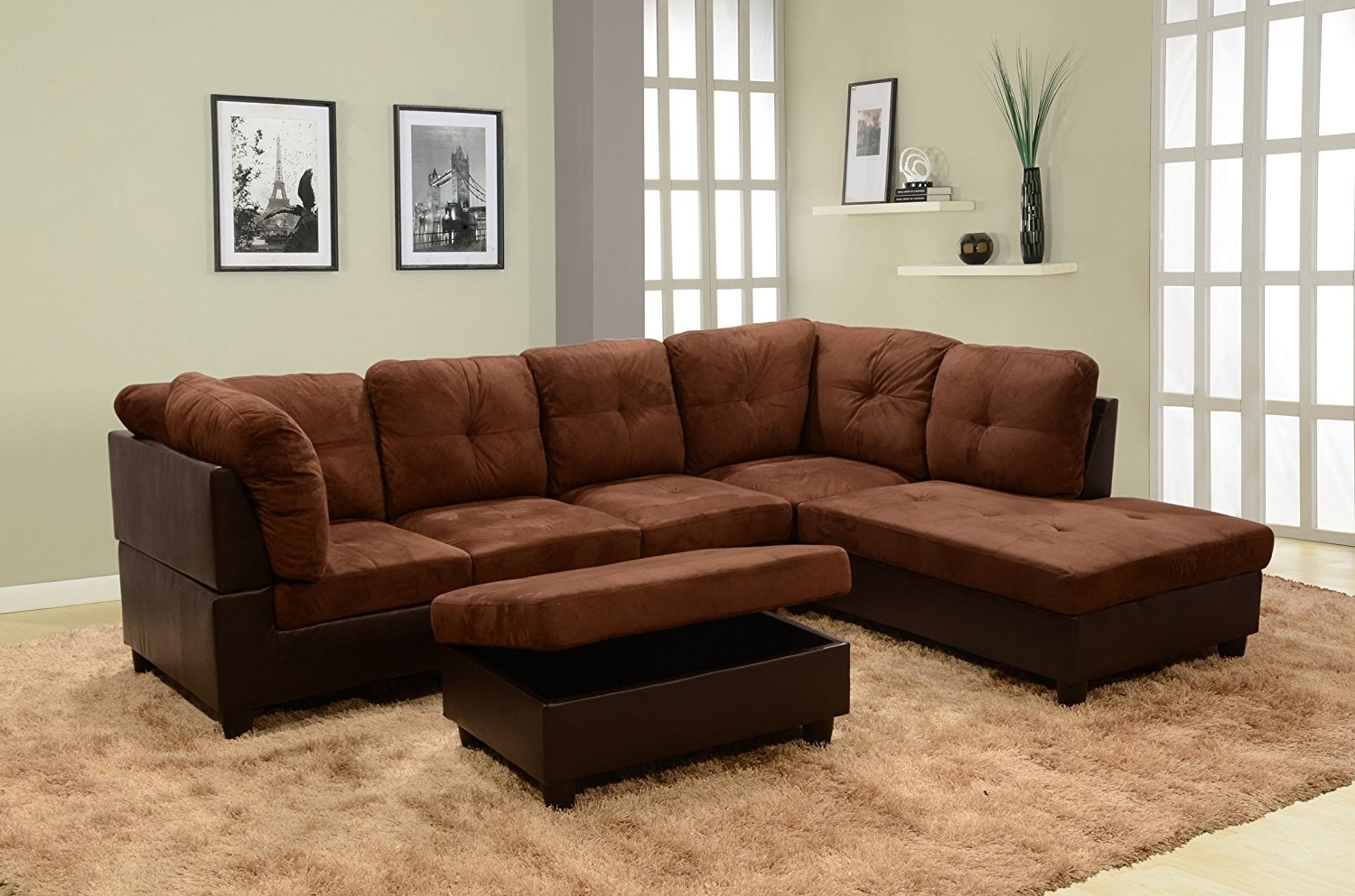2017 Sectionals With Ottoman Intended For Amazon: Lifestyle Coffee 3 Piece Microfiber & Faux Leather (View 1 of 15)