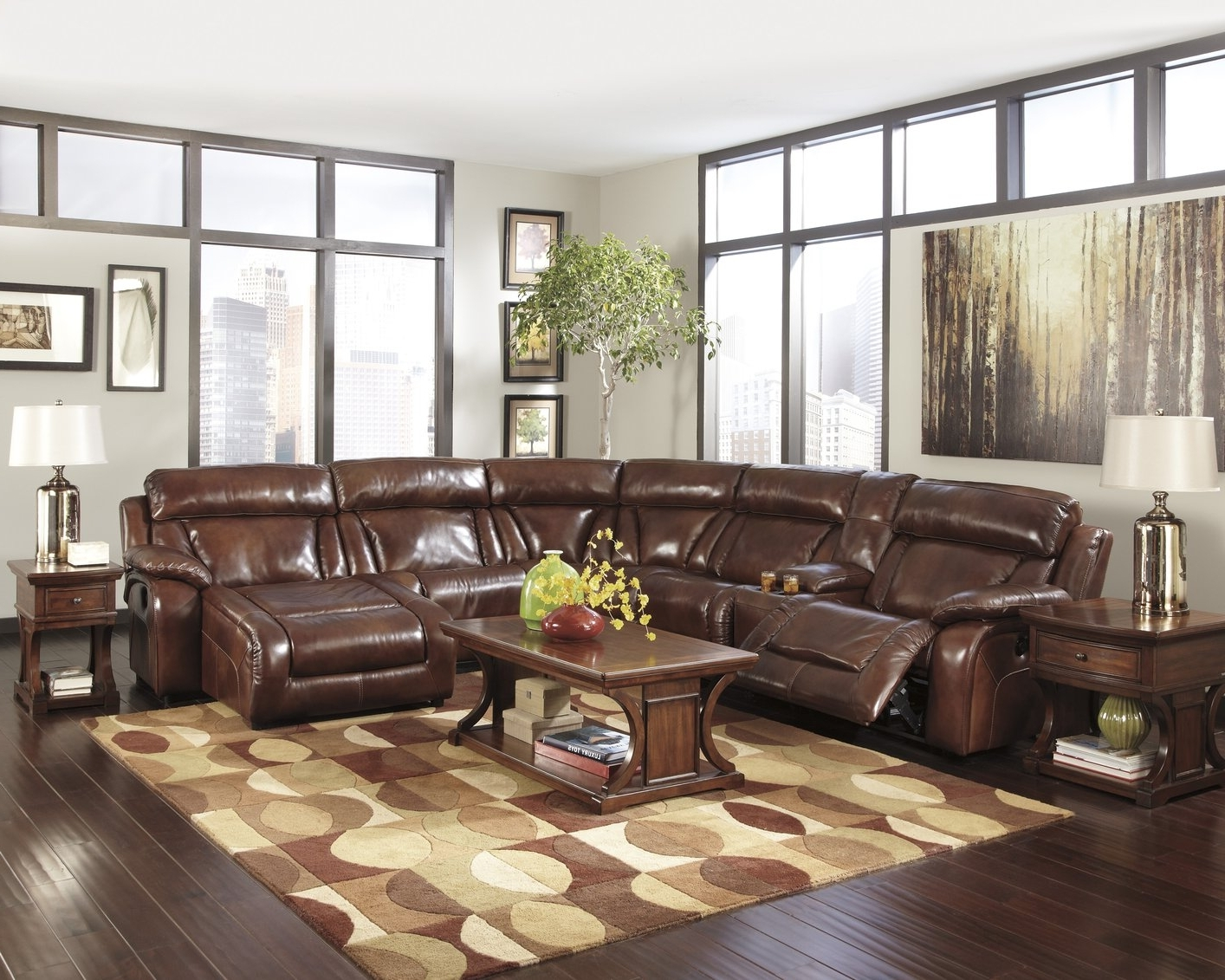 2017 Simmons Manhattan Sectional Instructions Brown Bonded Leather In High End Leather Sectional Sofas (View 12 of 15)