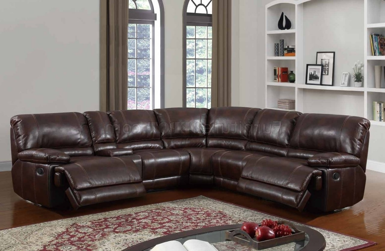 2017 U1953 Power Motion Sectional Sofa Brown Bonded Leatherglobal Within Motion Sectional Sofas (View 1 of 15)