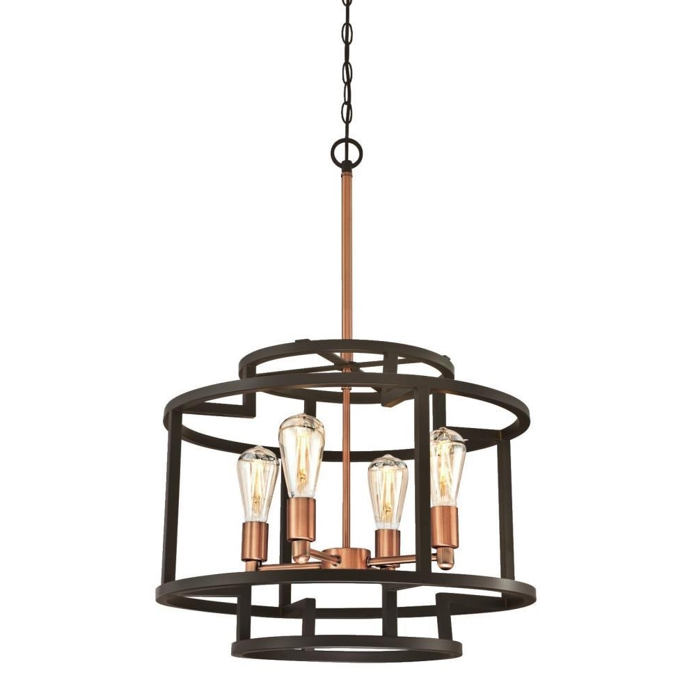 2017 Westinghouse Weston 4 Light Oil Rubbed Bronze And Washed Copper Within Copper Chandeliers (View 1 of 15)