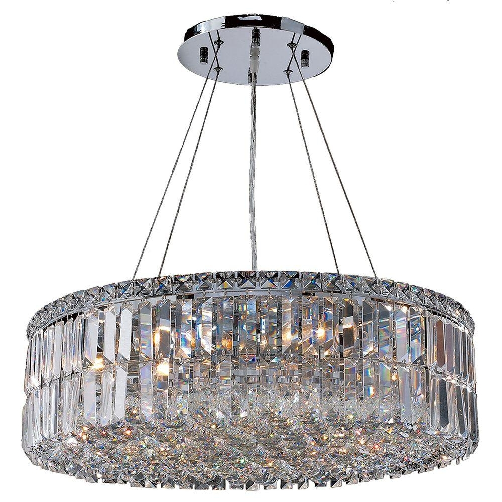 2017 Worldwide Lighting Cascade Collection 12 Light Polished Chrome Regarding Chrome And Crystal Chandelier (View 1 of 15)