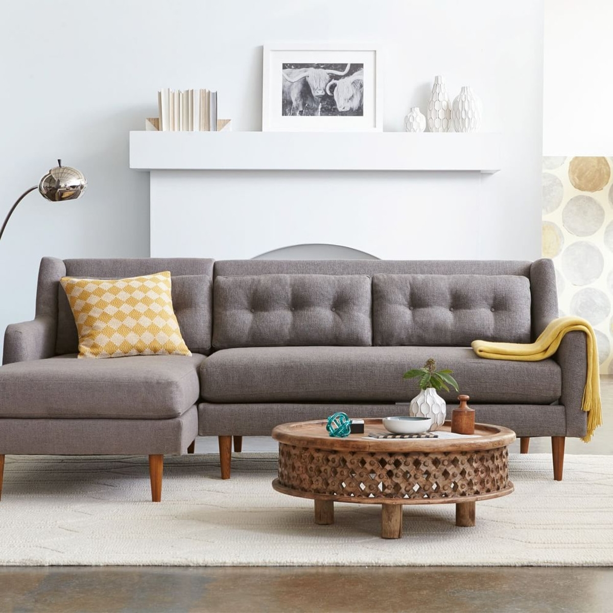 2018 Admirable 2 Piece Sectional Sofas With Chaise Flooding Interior In West Elm Sectional Sofas (View 2 of 15)