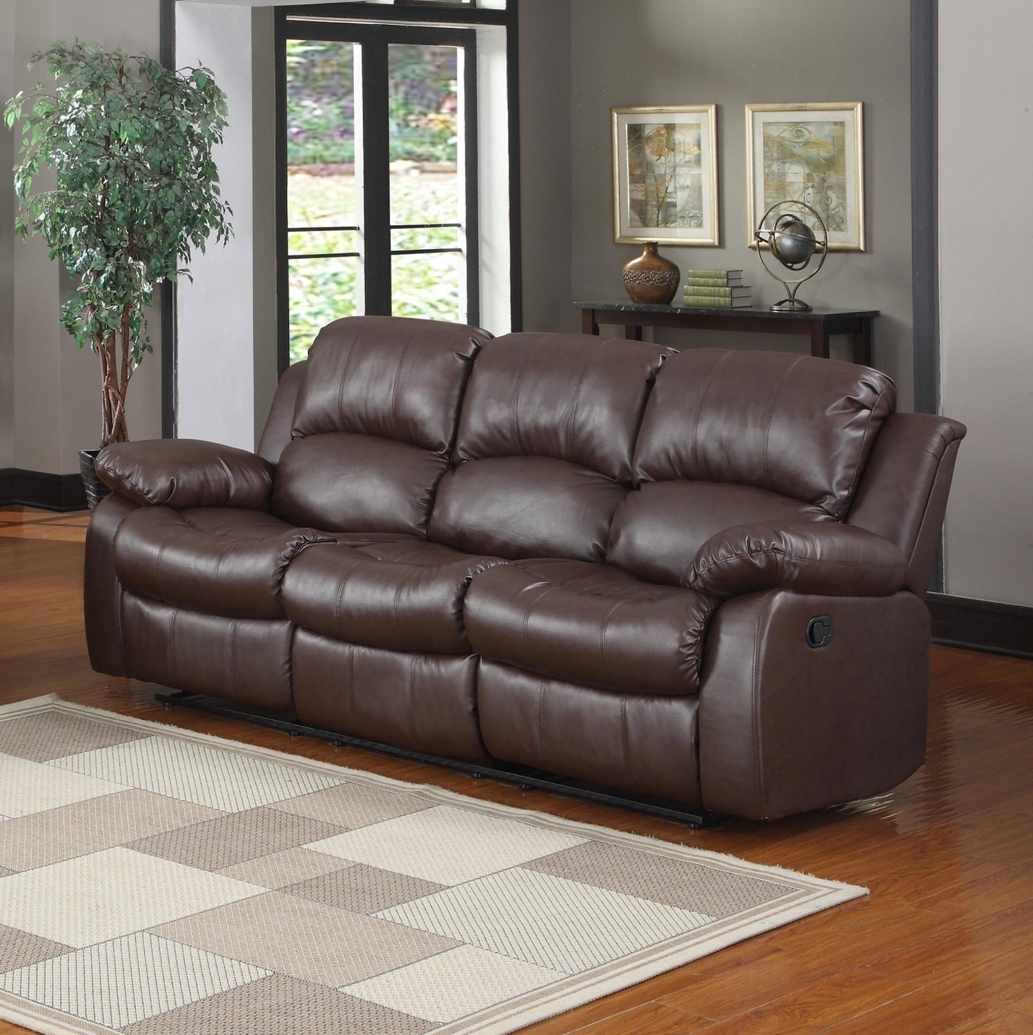 2018 Amazon: Bonded Leather Double Recliner Sofa Living Room With Regard To Recliner Sofas (View 1 of 15)