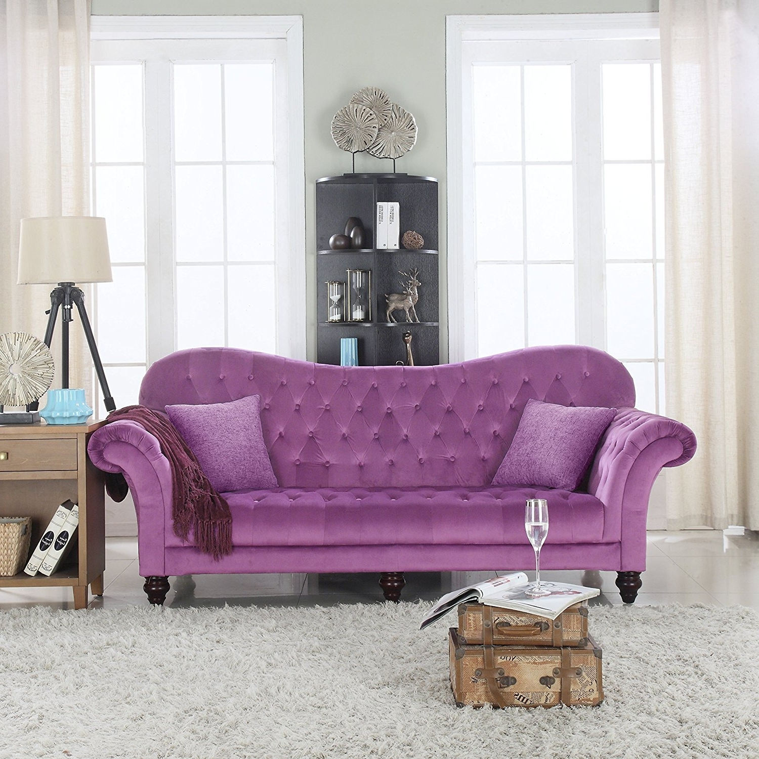 2018 Amazon: Classic Tufted Velvet Victorian Sofa (Purple): Kitchen Within Velvet Purple Sofas (View 10 of 15)