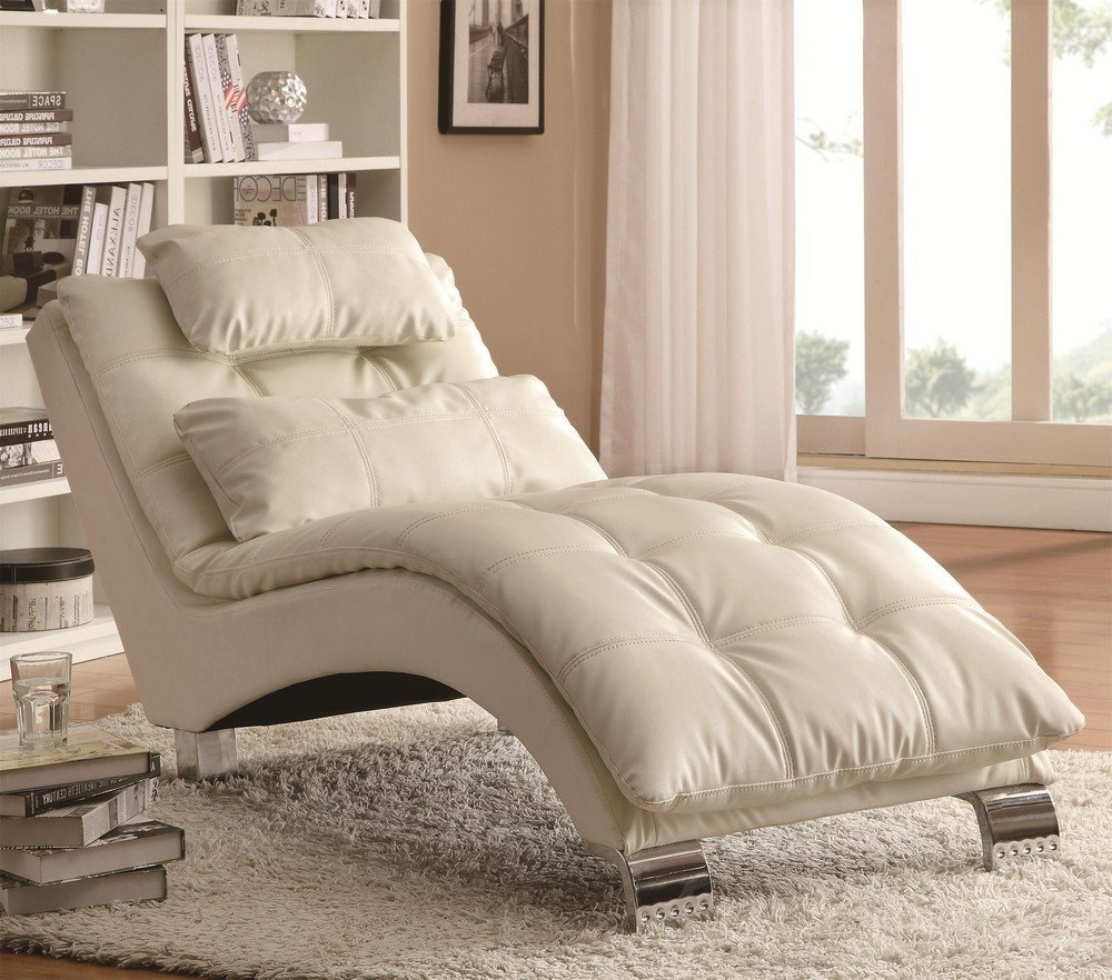 2018 Bedroom: Impressive White Leather Tufted Lounge Chair In Chrome For Bedroom Chaise Lounges (View 3 of 15)