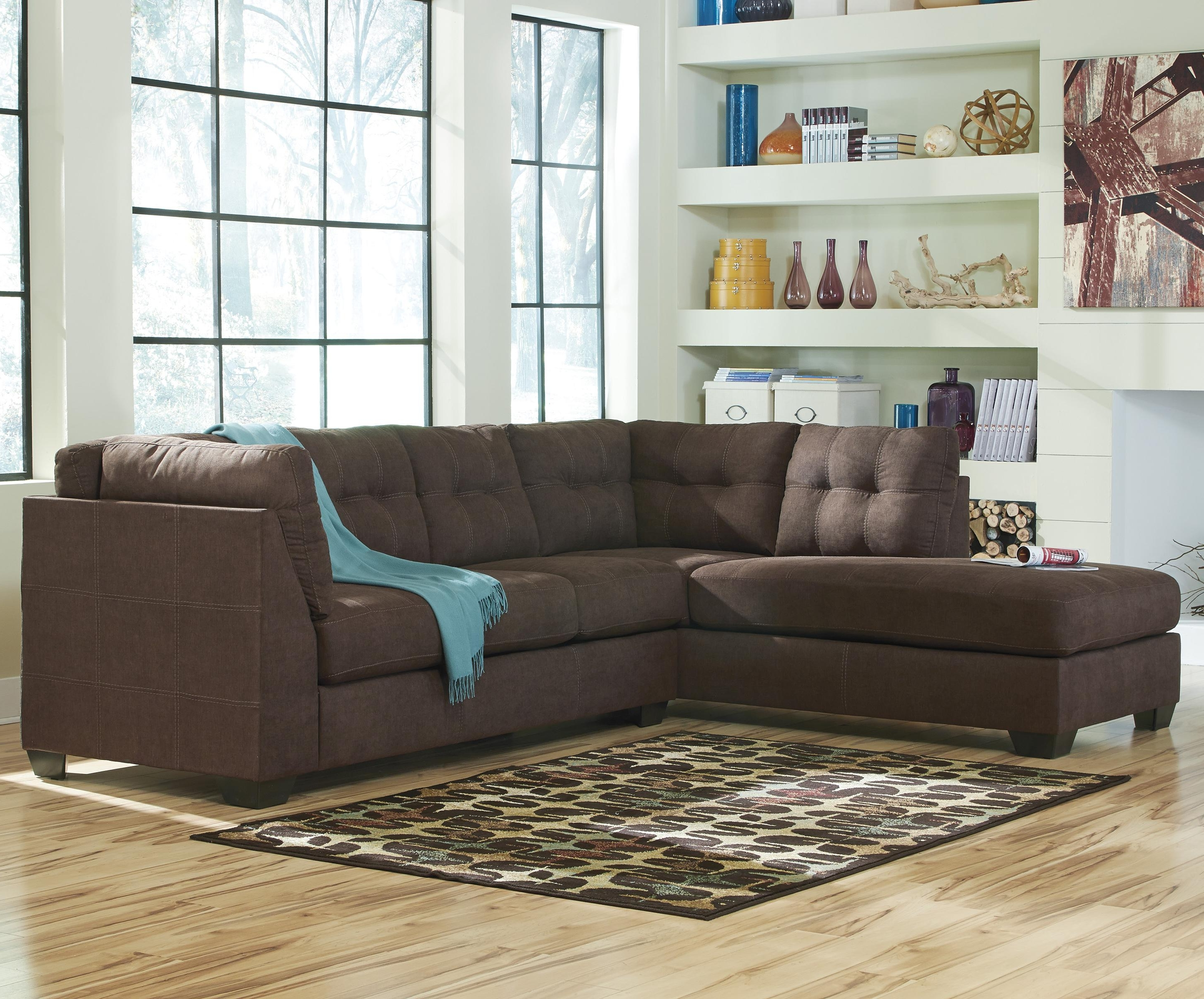 2018 Benchcraft Maier – Walnut 2 Piece Sectional With Left Chaise Intended For Left Chaise Sectionals (View 14 of 15)