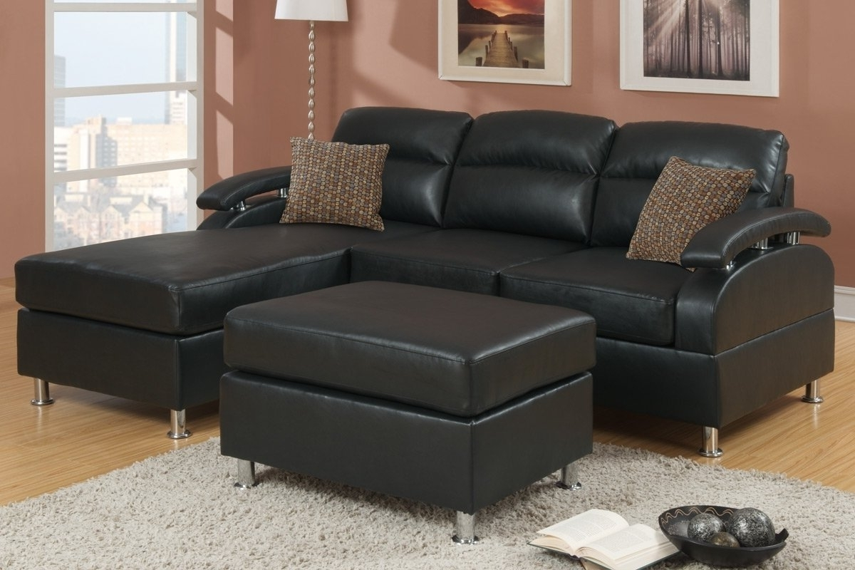 2018 Black Bonded Leather Sectional Sofa With Ottoman F7685 Throughout For Black Leather Sectionals With Ottoman (View 1 of 15)
