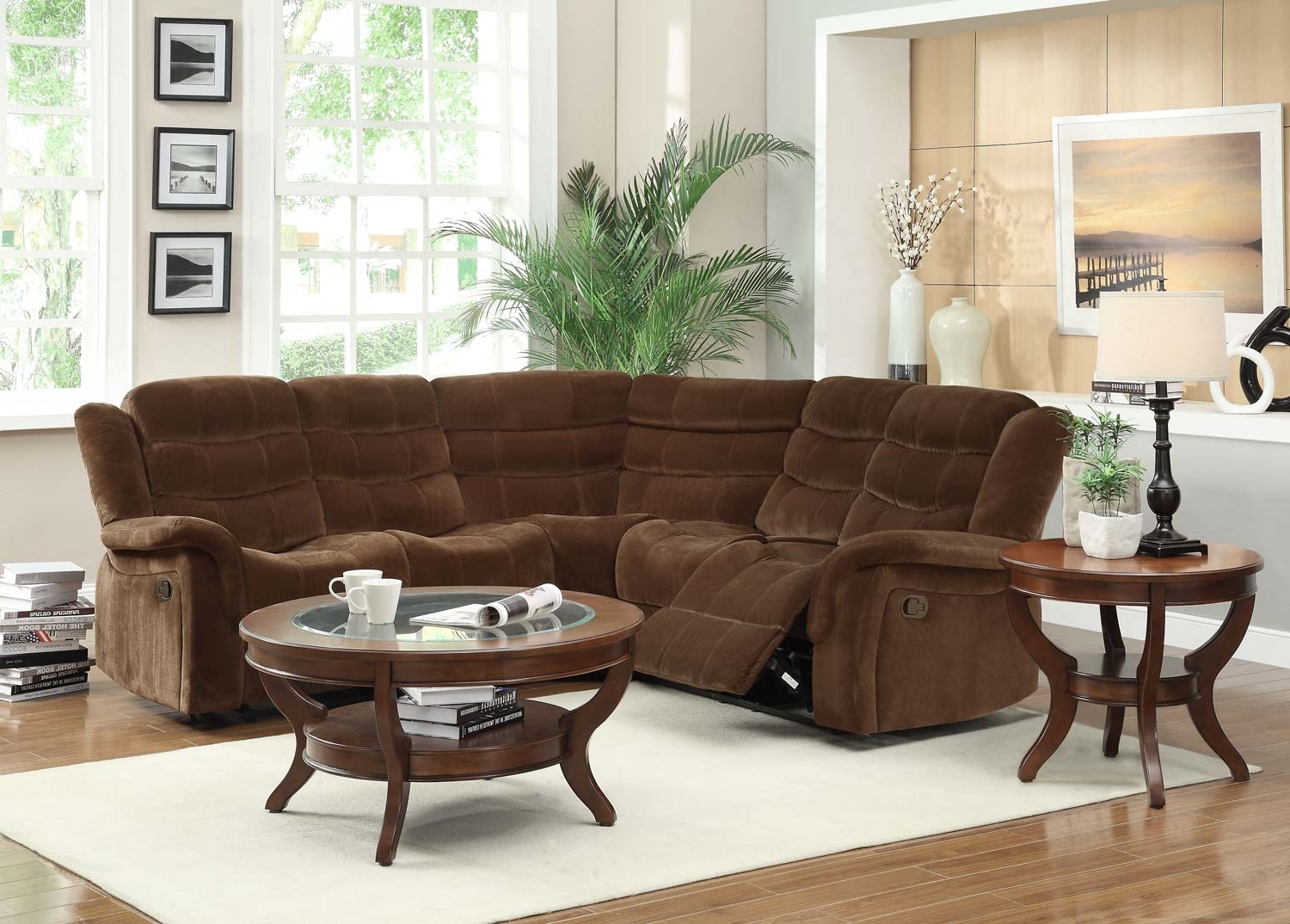 2018 Chocolate Brown Sectional Sofas In Homelegance Norton Reclining Sectional Sofa Set – Chocolate (View 14 of 15)