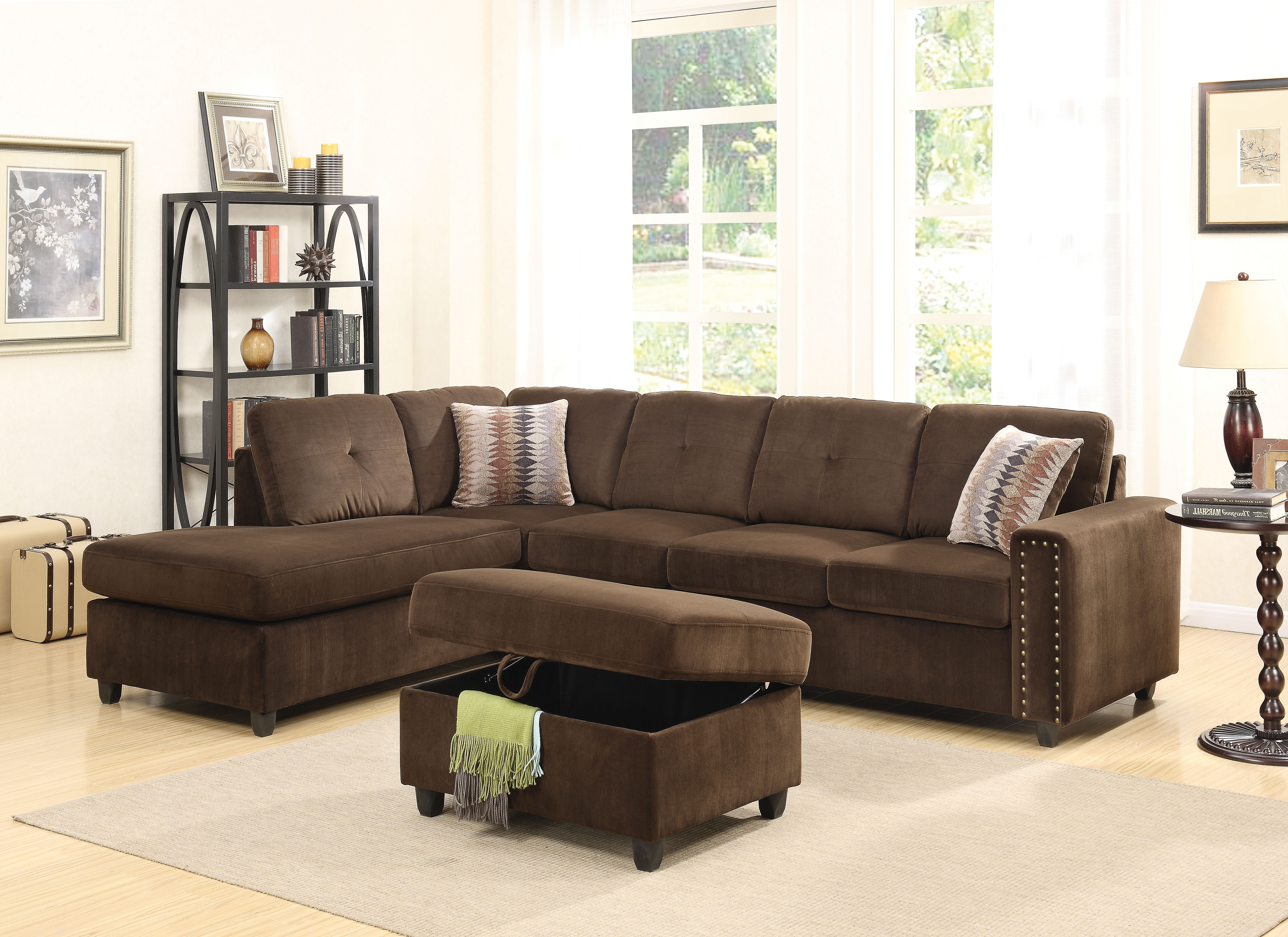 2018 Chocolate Sectional Sofas With Acme Belville Reversible Sectional Sofa With 2 Pillows, Chocolate (View 1 of 15)