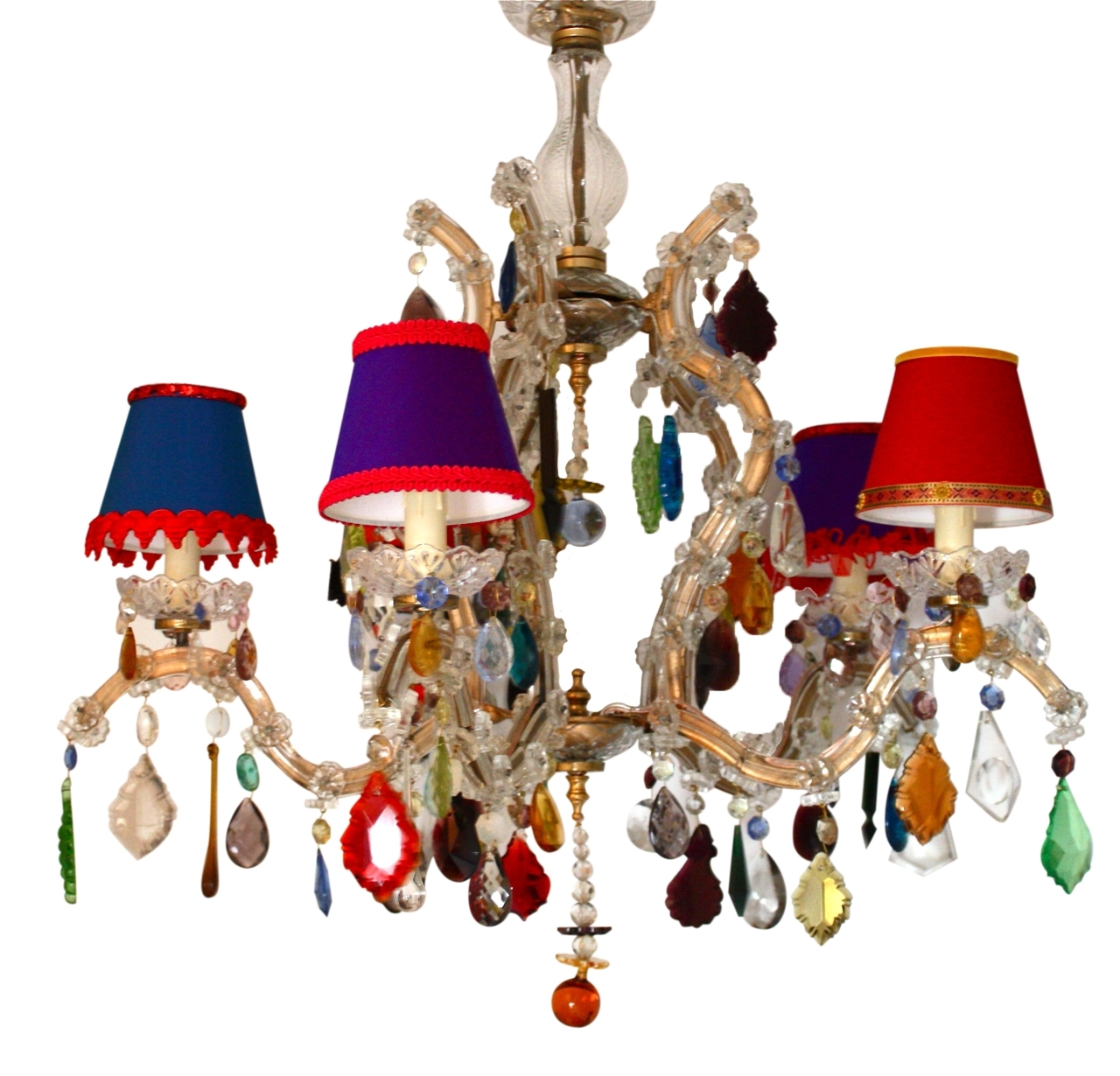2018 Coloured Chandeliers Throughout 5 Arm Glass Marie Therese With Multi Coloured Drops – The Vintage (View 2 of 15)